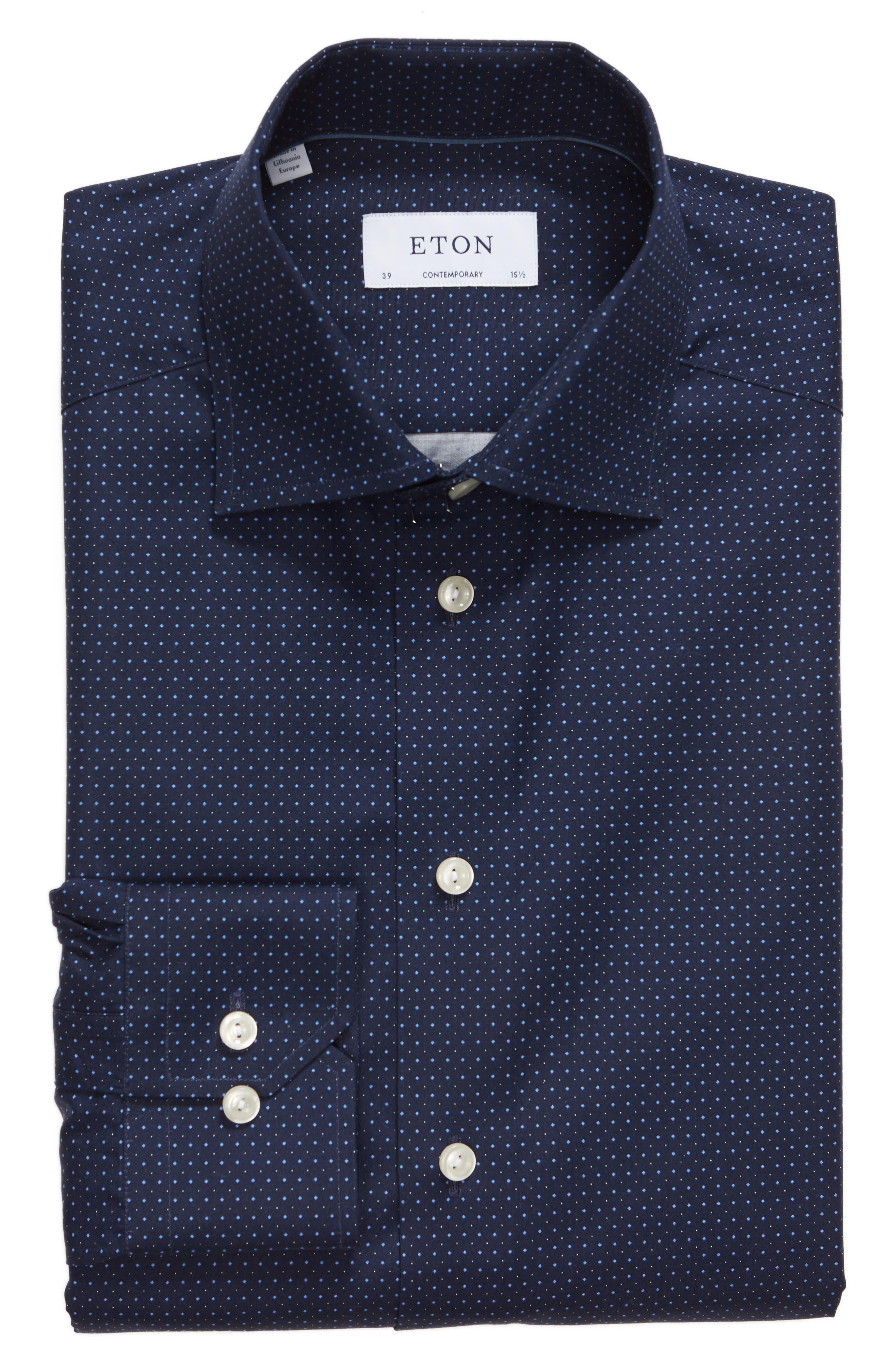 Contemporary Fit Dot Dress Shirt,                             Alternate thumbnail 8, color,
