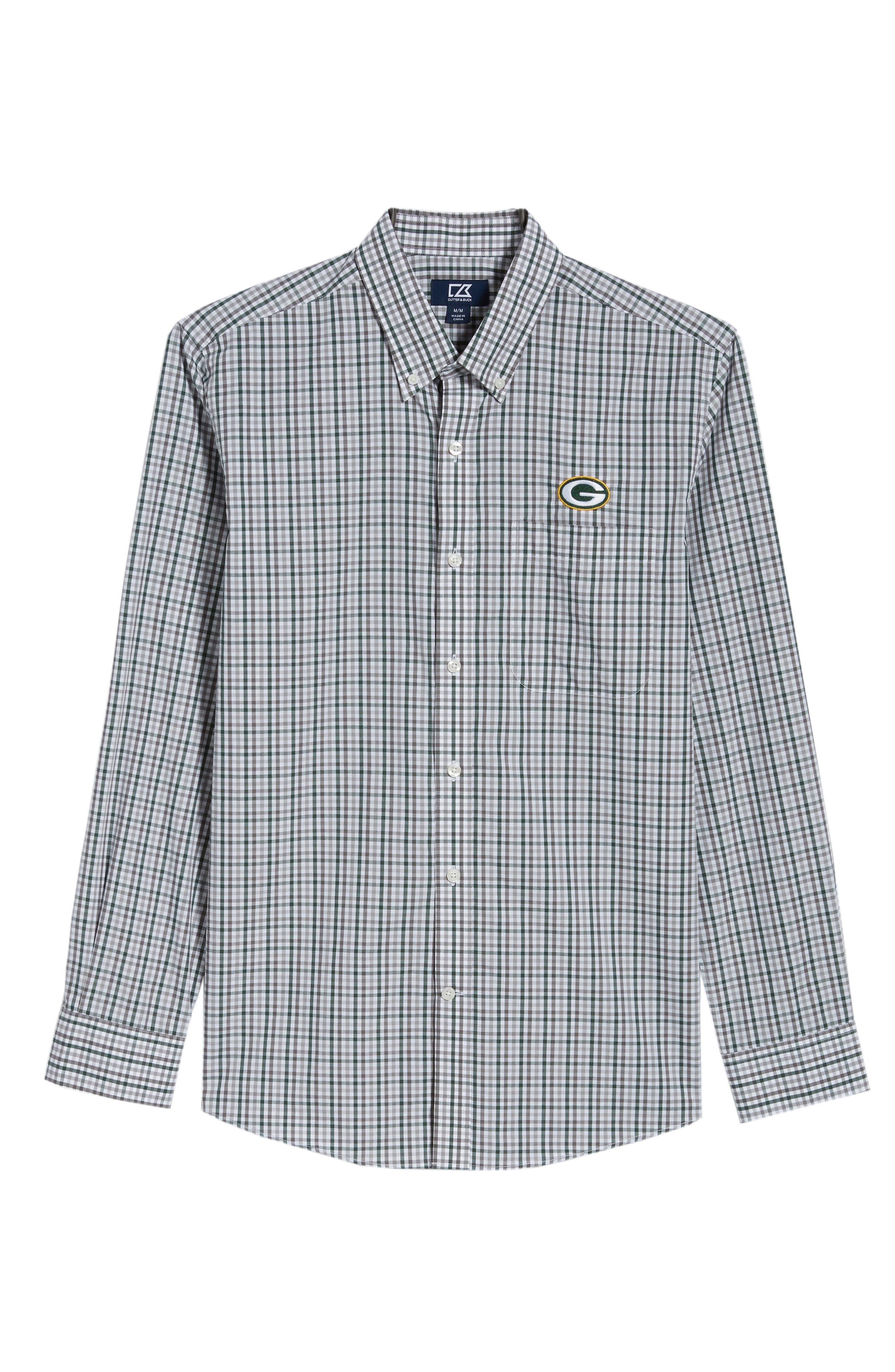 Green Bay Packers - Gilman Regular Fit Plaid Sport Shirt,                             Alternate thumbnail 6, color,                             HUNTER