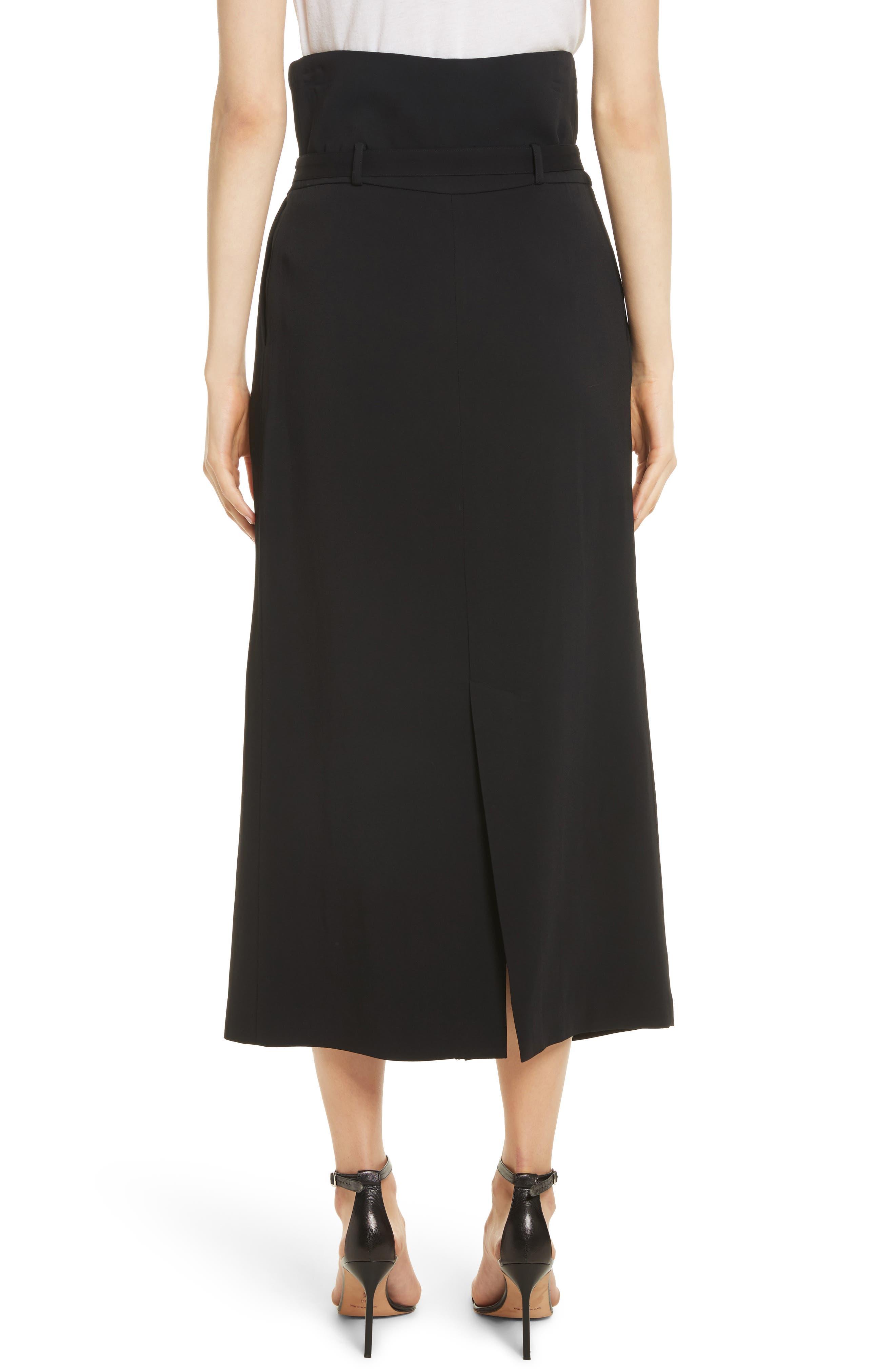 Paperbag Waist Split Front Skirt,                             Alternate thumbnail 2, color,                             001