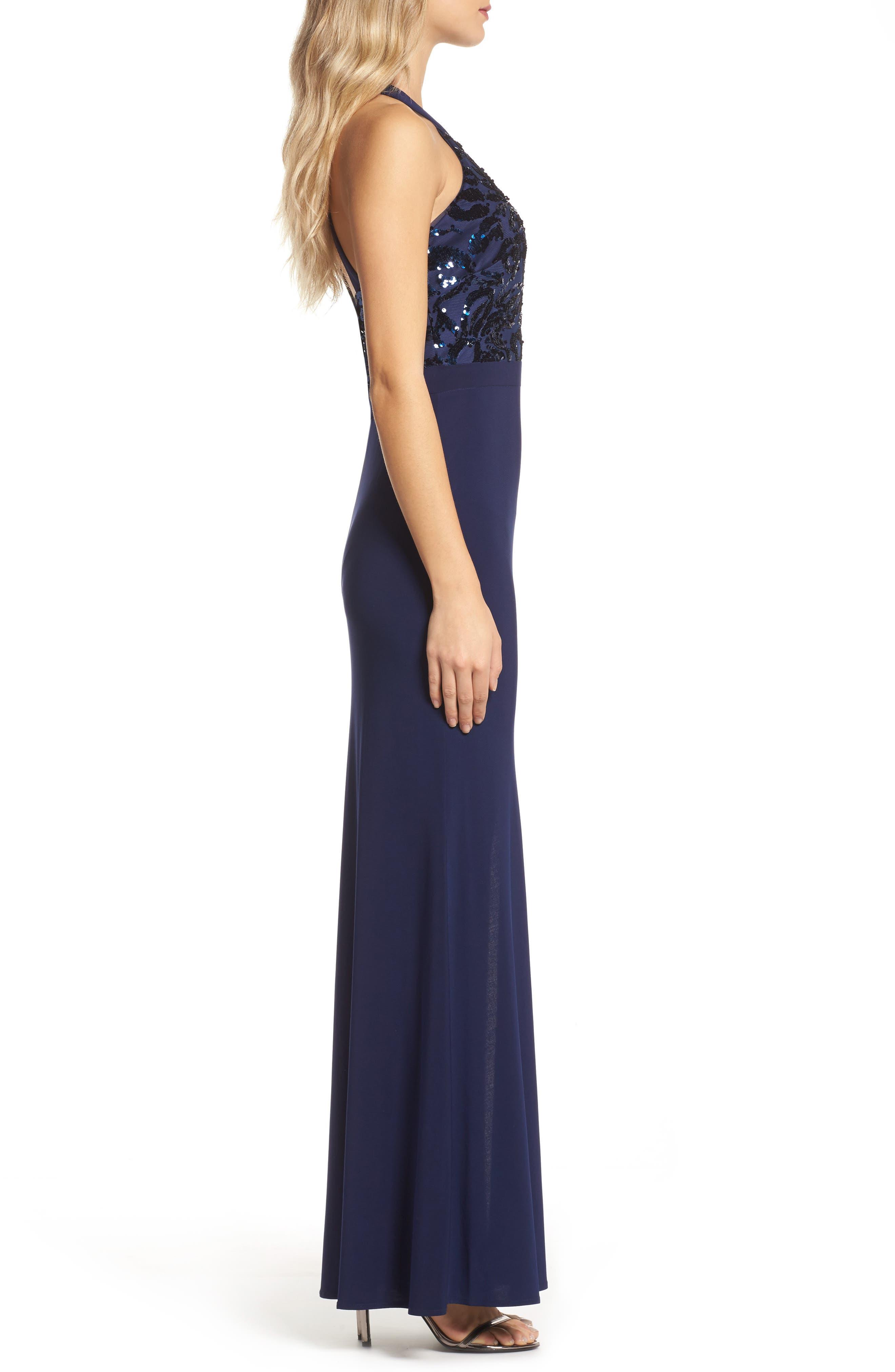 Sequin Halter Neck Gown,                             Alternate thumbnail 3, color,                             NAVY