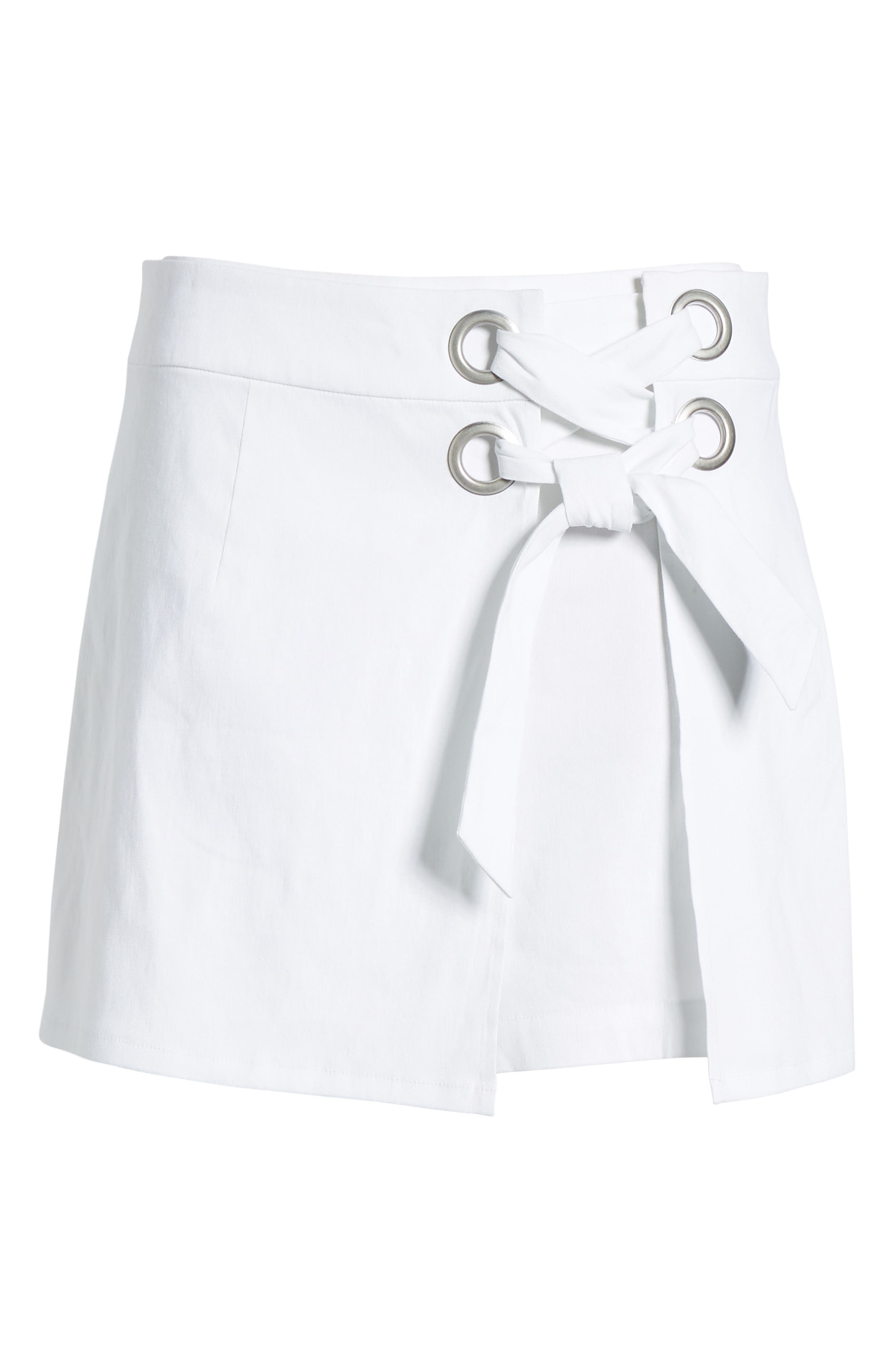 Lace-Up Linen Blend Skort,                             Alternate thumbnail 6, color,                             100