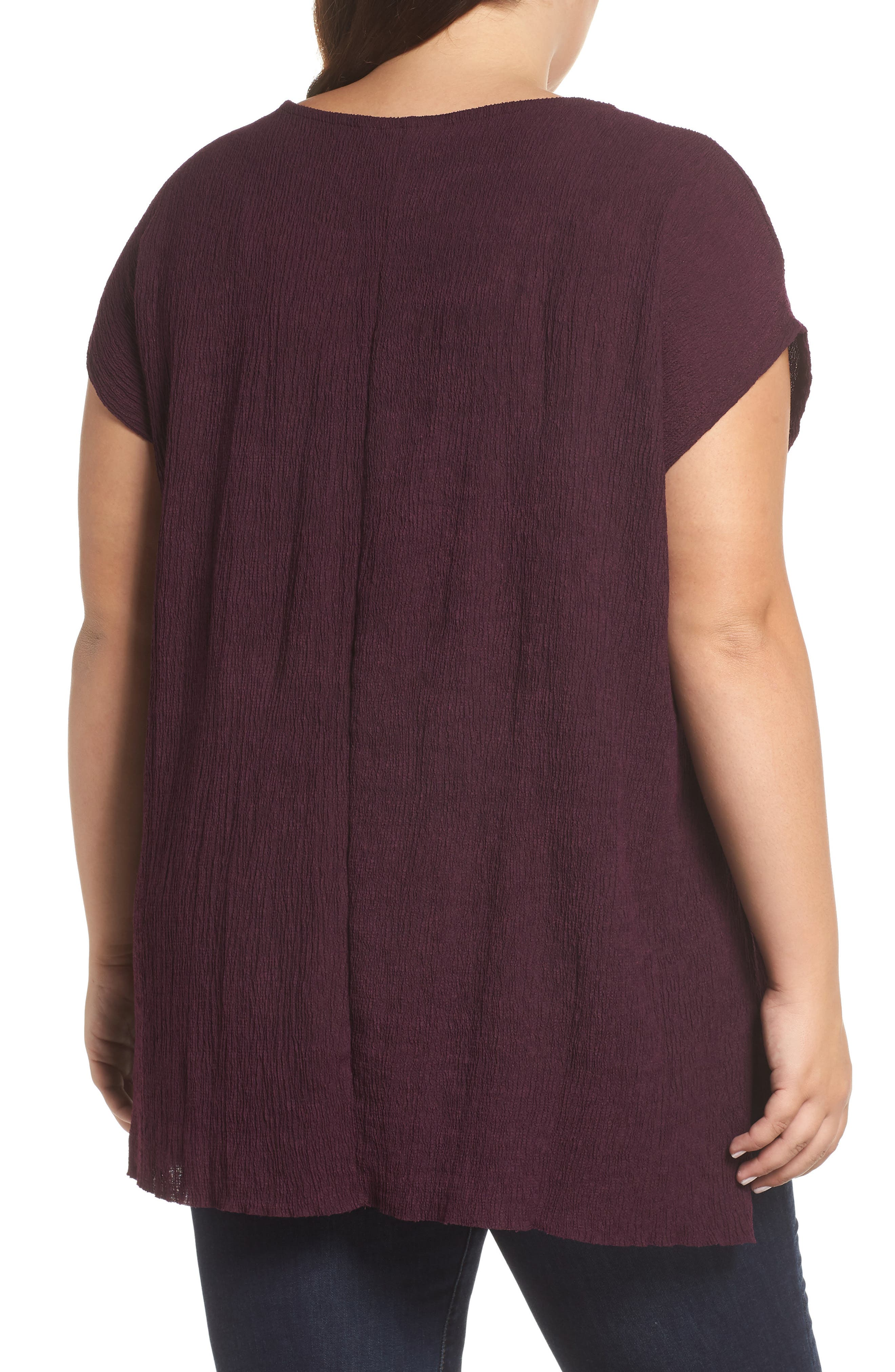 High/Low Crinkle Top,                             Alternate thumbnail 2, color,                             PLUM WINE