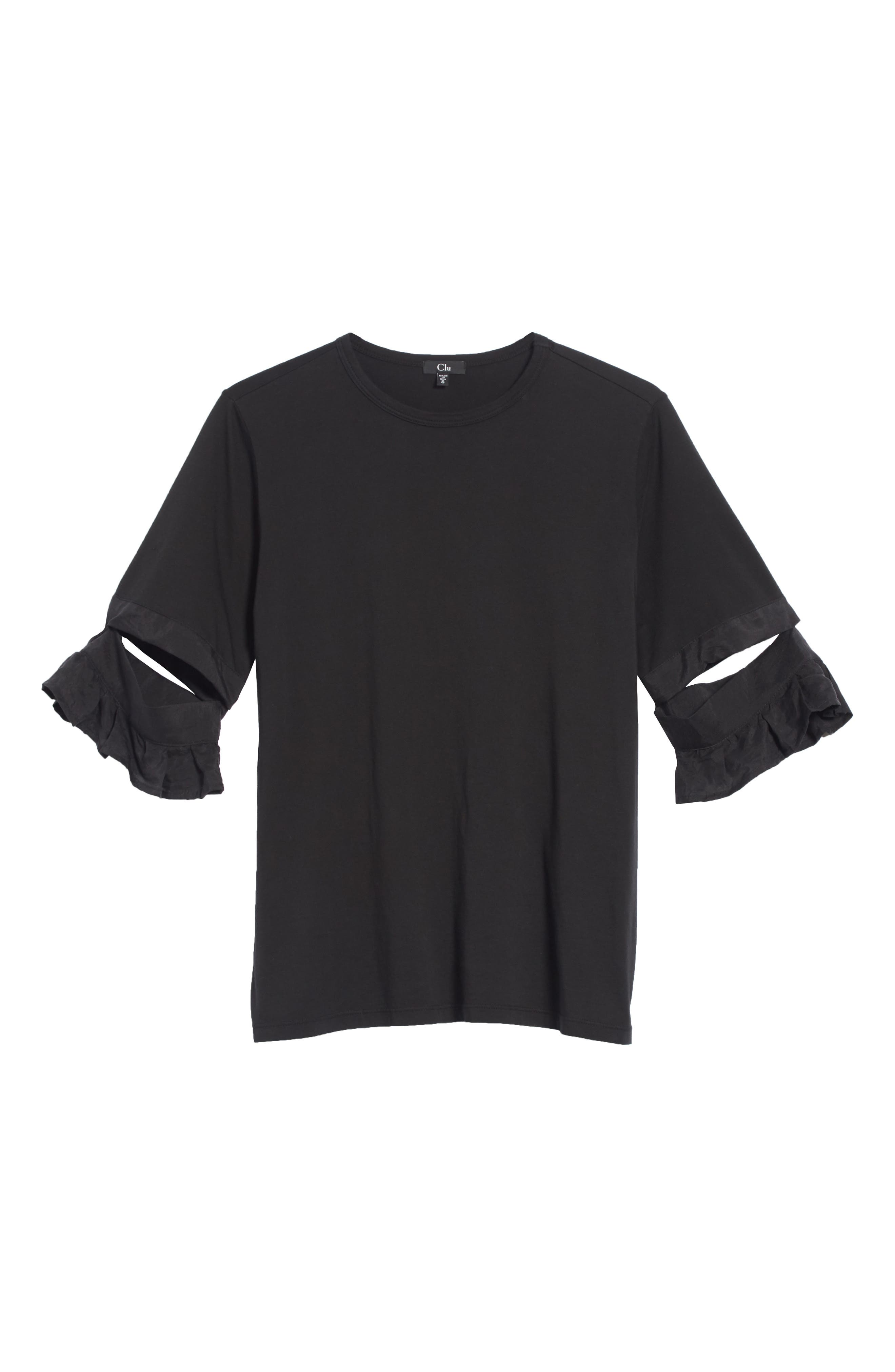 Open Sleeve Top,                             Alternate thumbnail 6, color,                             BLACK