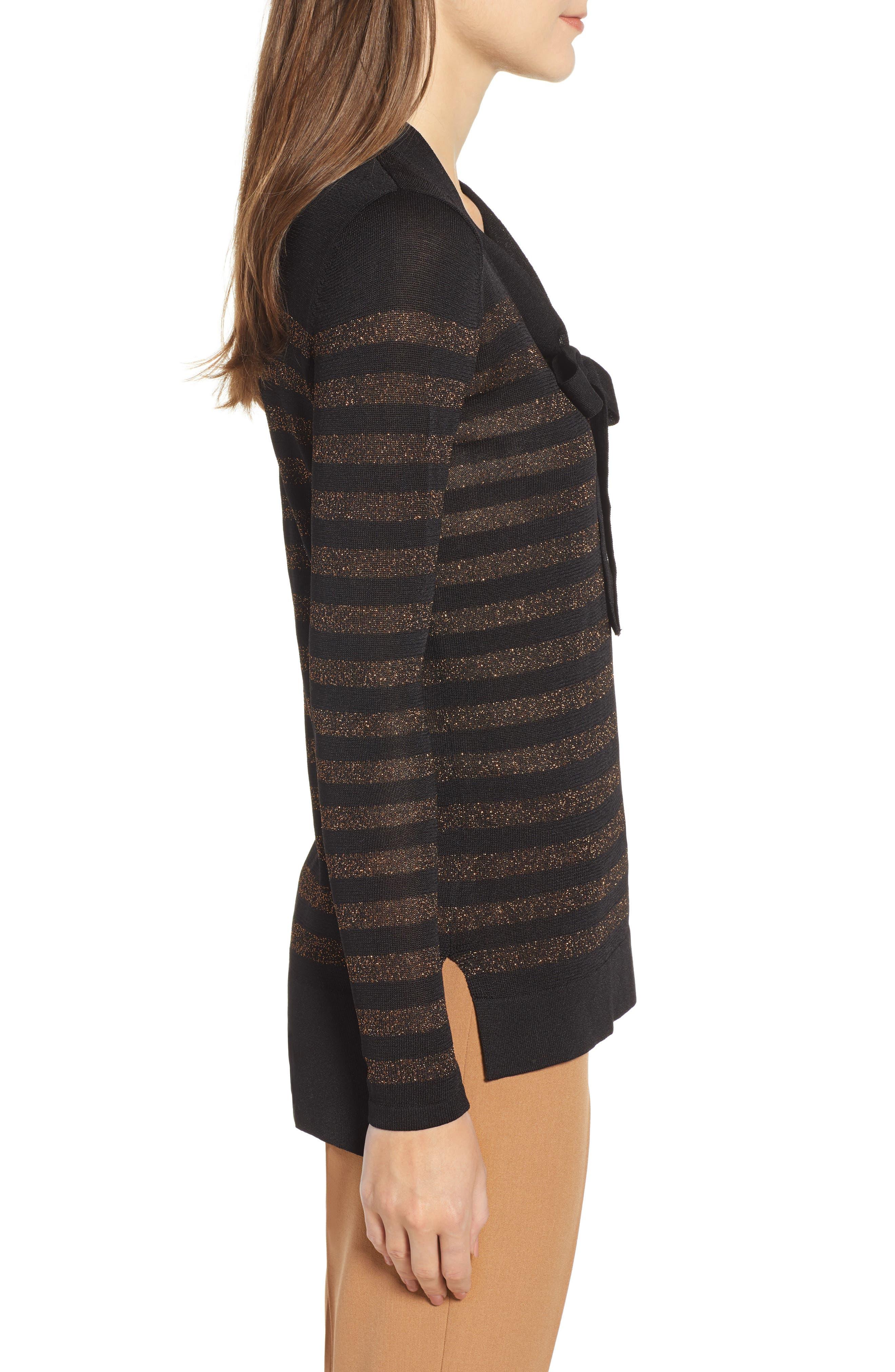 Metallic Stripe Bow Front Sweater,                             Alternate thumbnail 3, color,                             ANNE BLACK/ COPPER