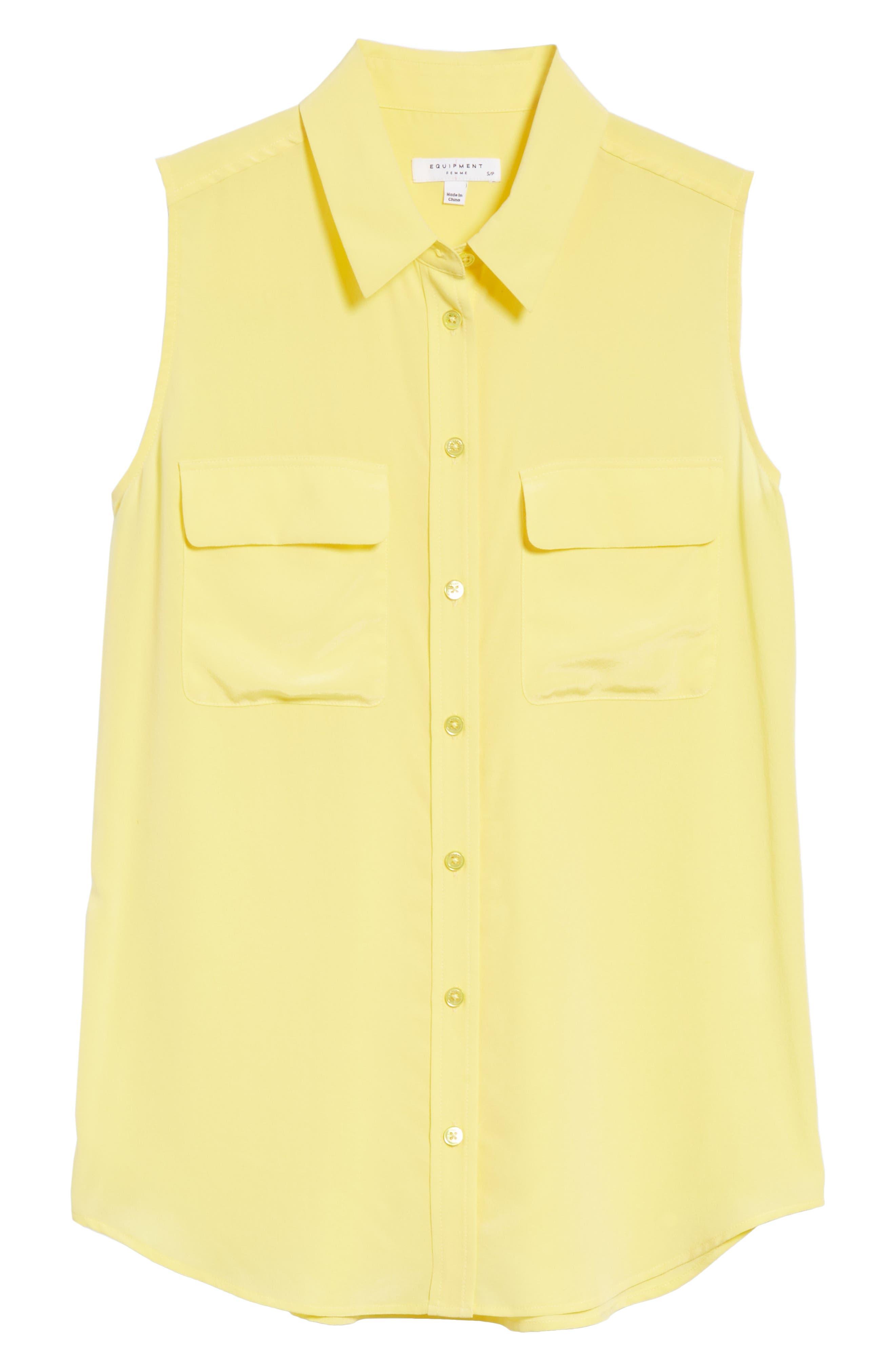 'Slim Signature' Sleeveless Silk Shirt,                             Alternate thumbnail 210, color,