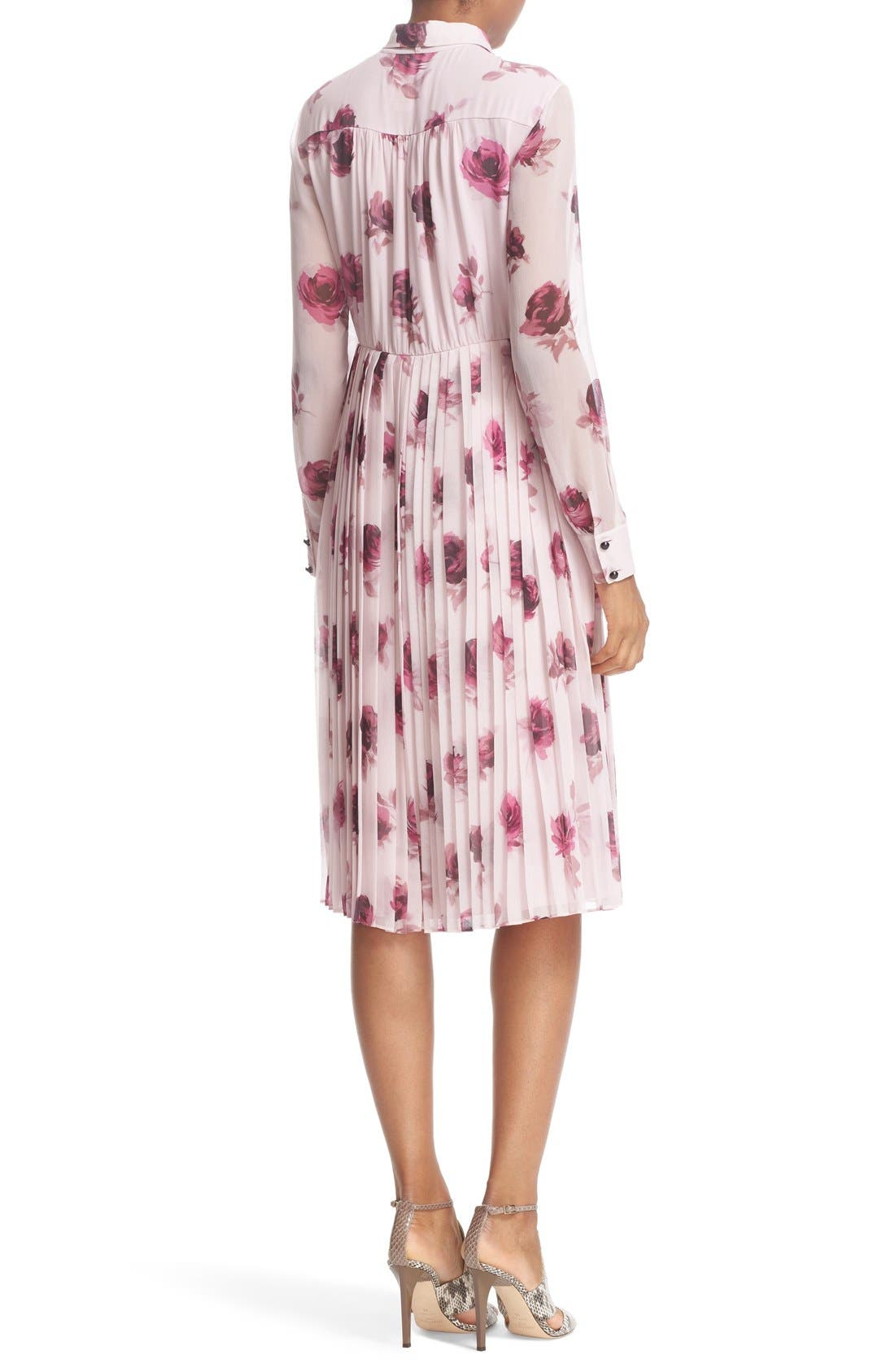 'encore rose' tie neck pleat chiffon dress,                             Alternate thumbnail 6, color,                             651