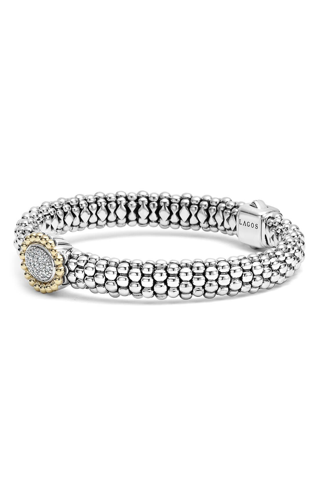'Caviar' Diamond Bracelet,                             Alternate thumbnail 3, color,                             040