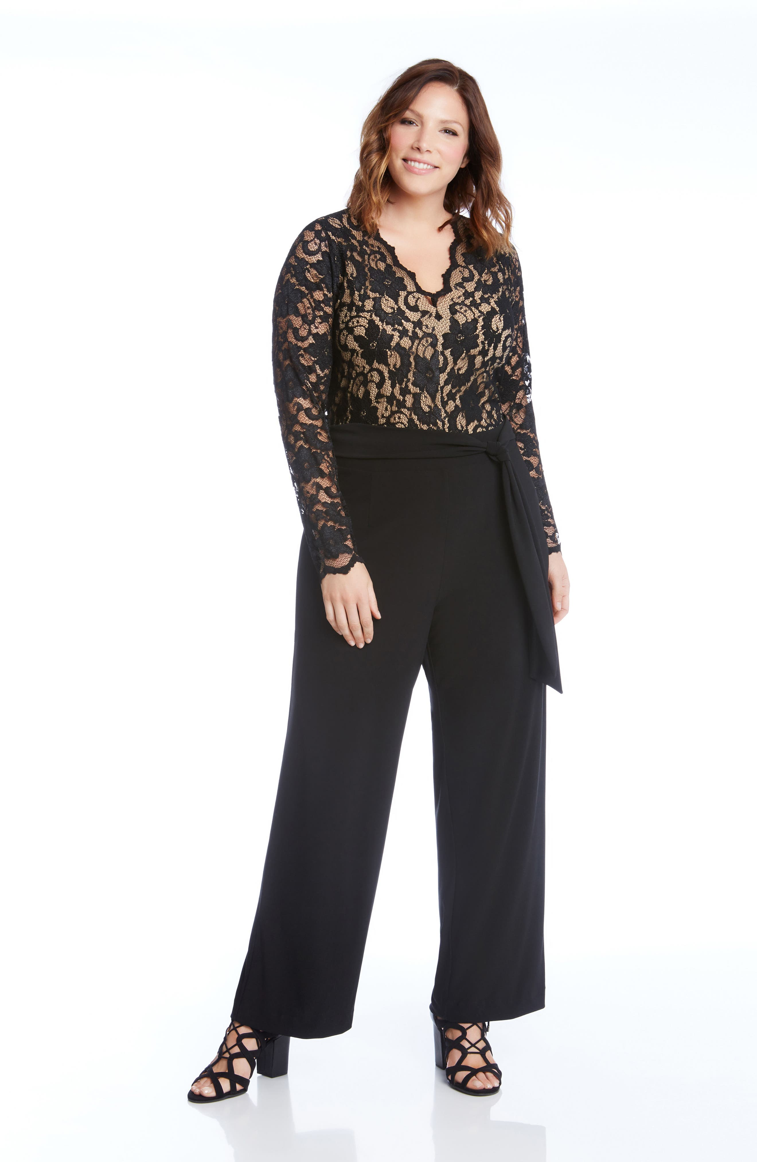 Lace & Jersey Palazzo Jumpsuit,                             Alternate thumbnail 3, color,                             001