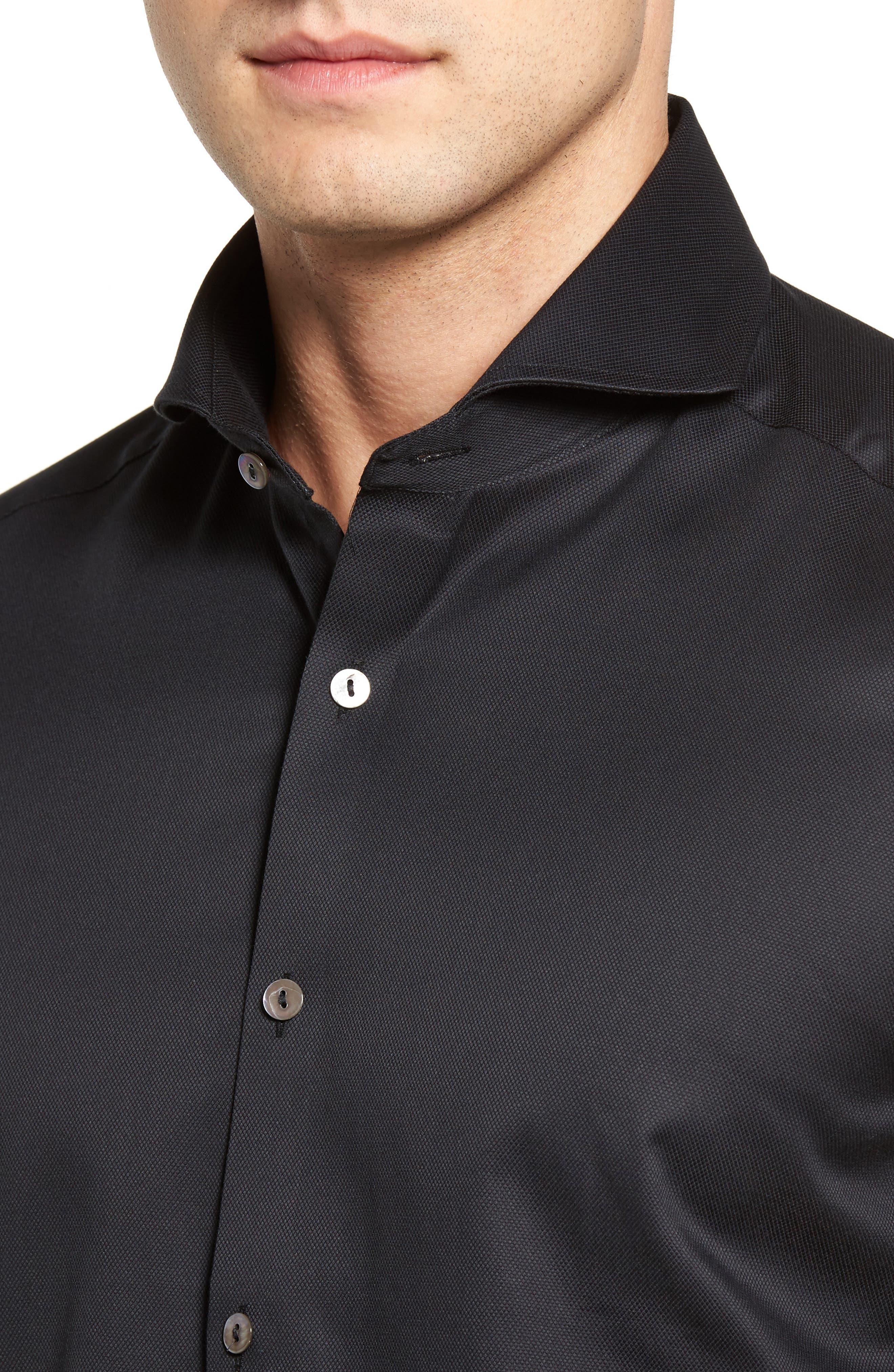 Textured Sport Shirt,                             Alternate thumbnail 4, color,                             BLACK