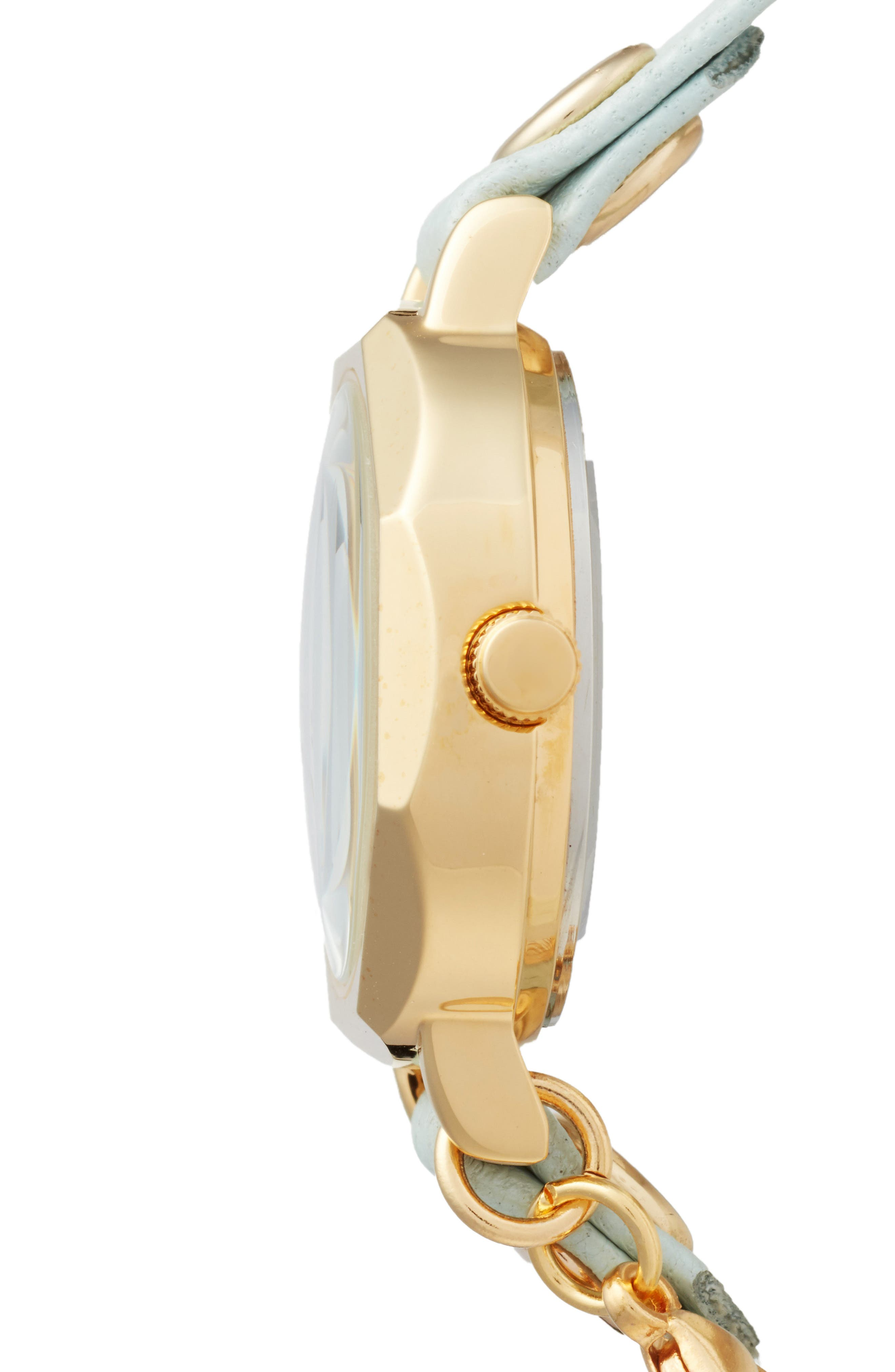 Perth Wrap Leather Strap Watch, 22mm,                             Alternate thumbnail 3, color,                             MINT/WHITE/GOLD