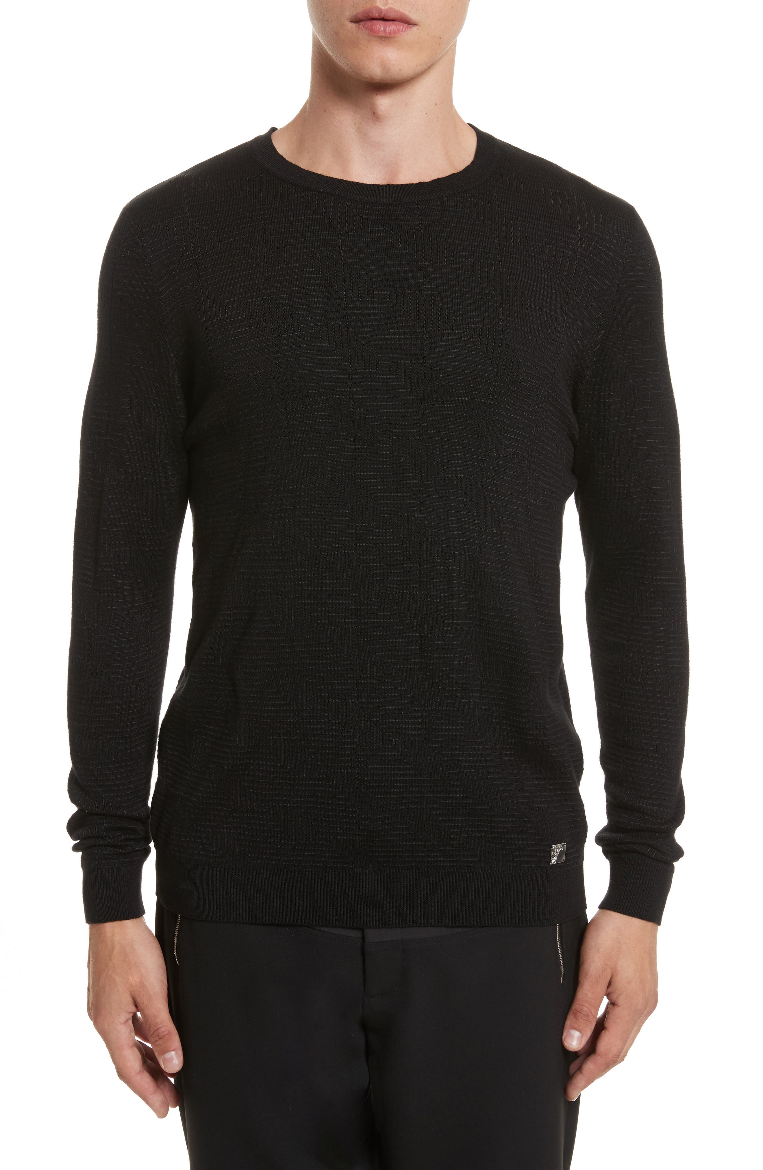 Frame Jacquard Sweater,                             Main thumbnail 1, color,                             001
