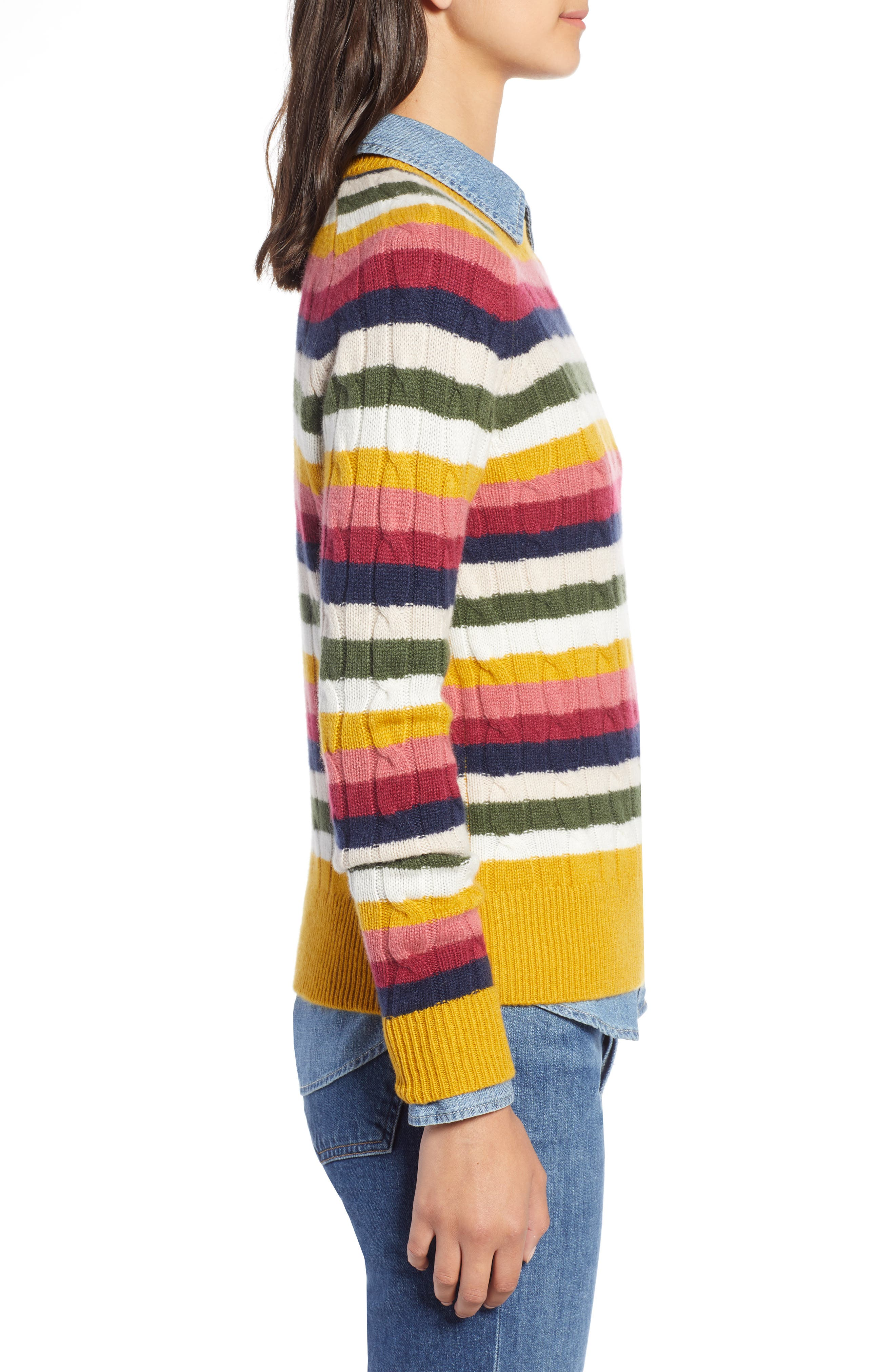 Cashmere Cable Sweater,                             Alternate thumbnail 3, color,                             RED MULTI HAPPY STRIPE