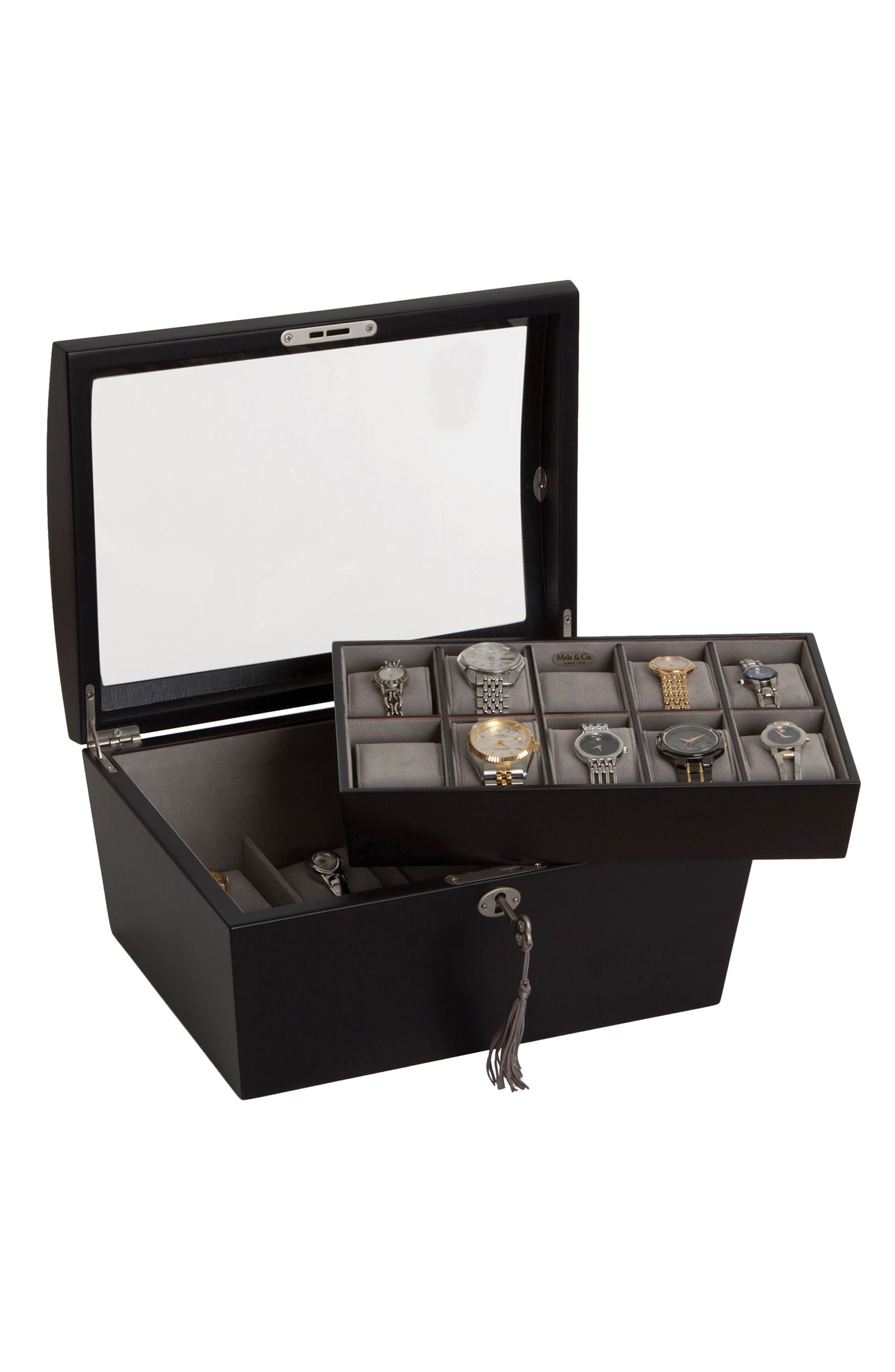 Royce Locking Watch & Jewelry Box,                             Main thumbnail 1, color,                             BLACK