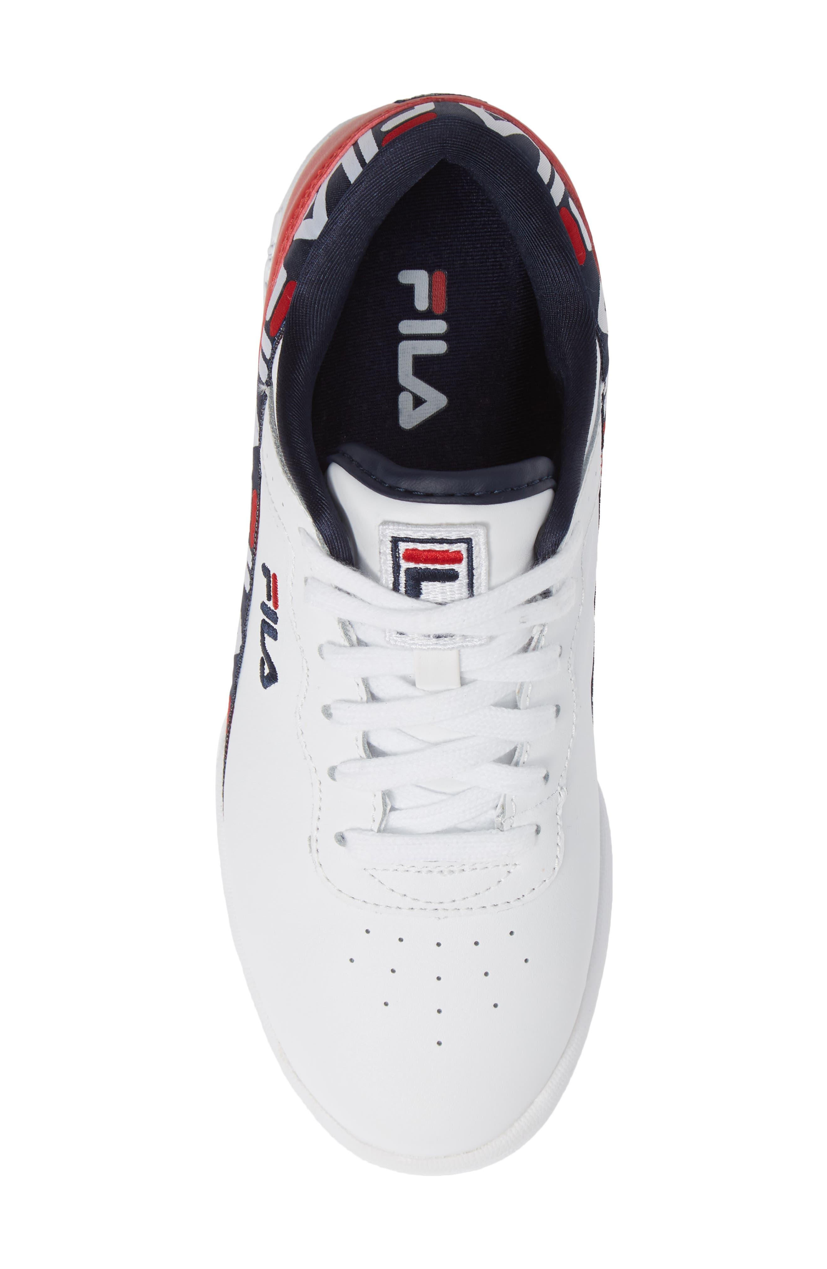 Original Fitness Logo Tape Sneaker,                             Alternate thumbnail 5, color,                             WHITE/ NAVY/ RED