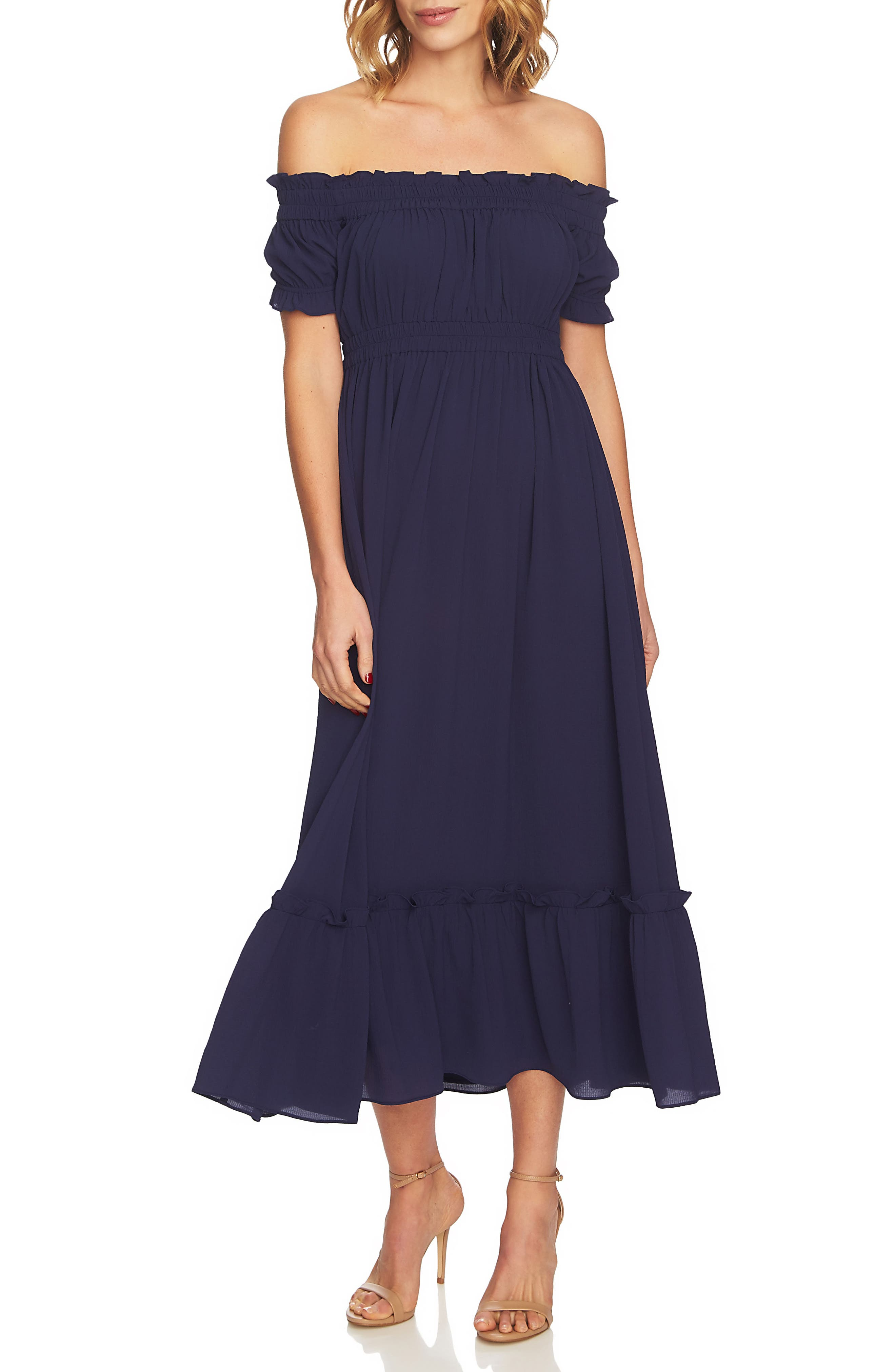 Vivian Off the Shoulder Smocked Maxi Dress,                             Main thumbnail 1, color,                             452