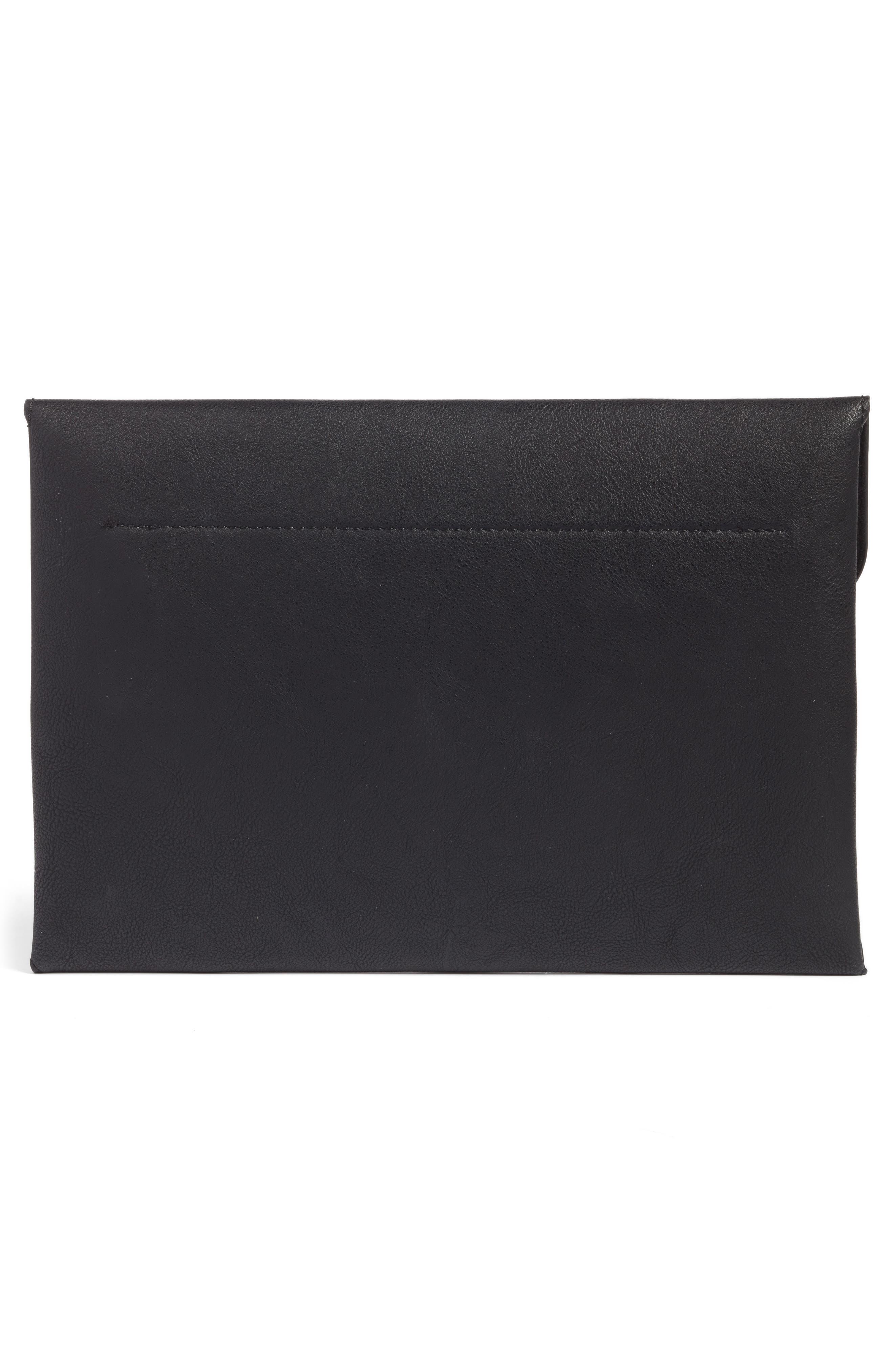 Karen Faux Leather Envelope Clutch,                             Alternate thumbnail 3, color,                             001