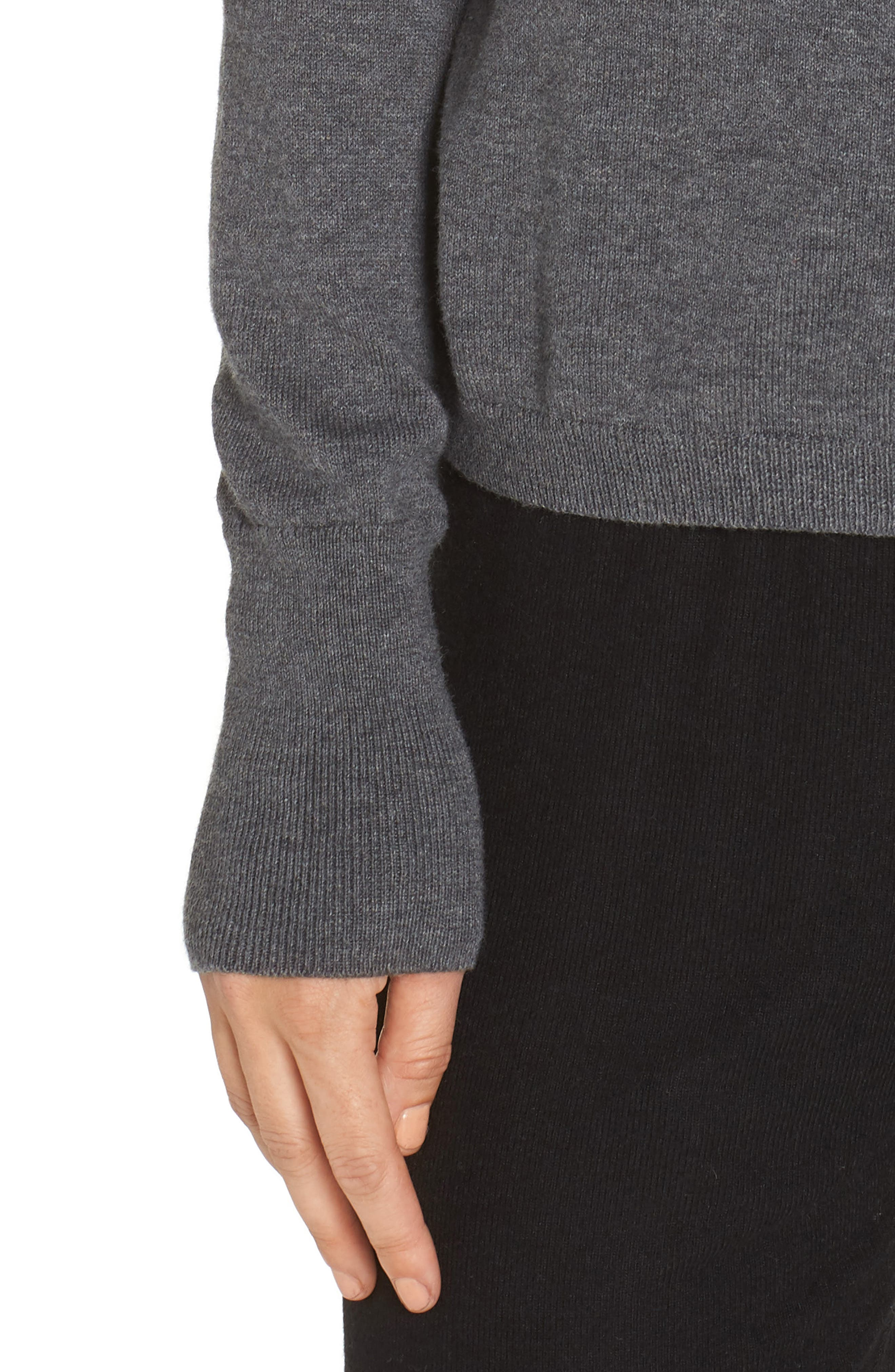 Surplice Front Sweater,                             Alternate thumbnail 4, color,                             DARK STEEL HEATHER