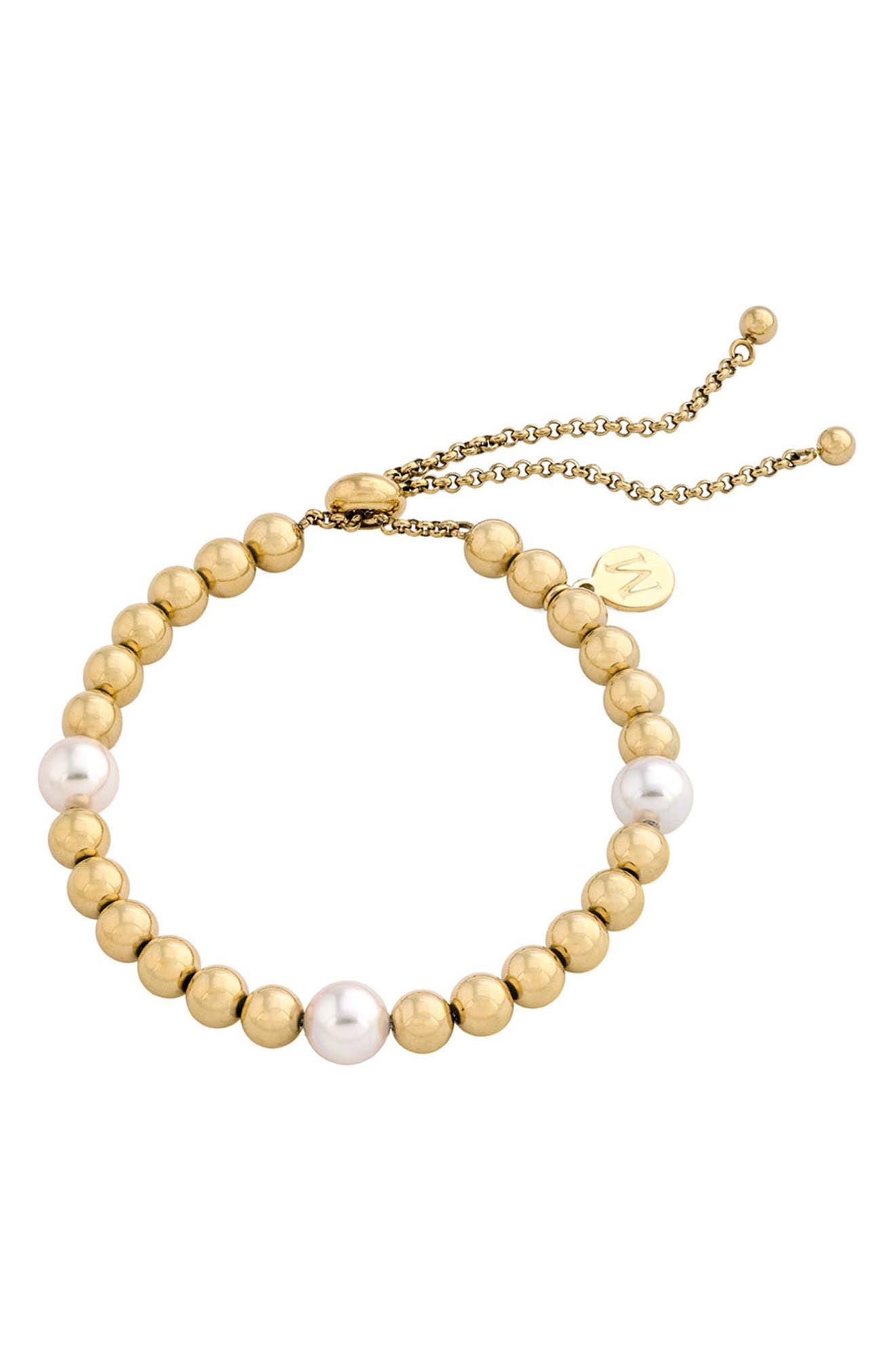 Simulated Pearl & Bead Bracelet,                             Main thumbnail 1, color,                             WHITE/ GOLD