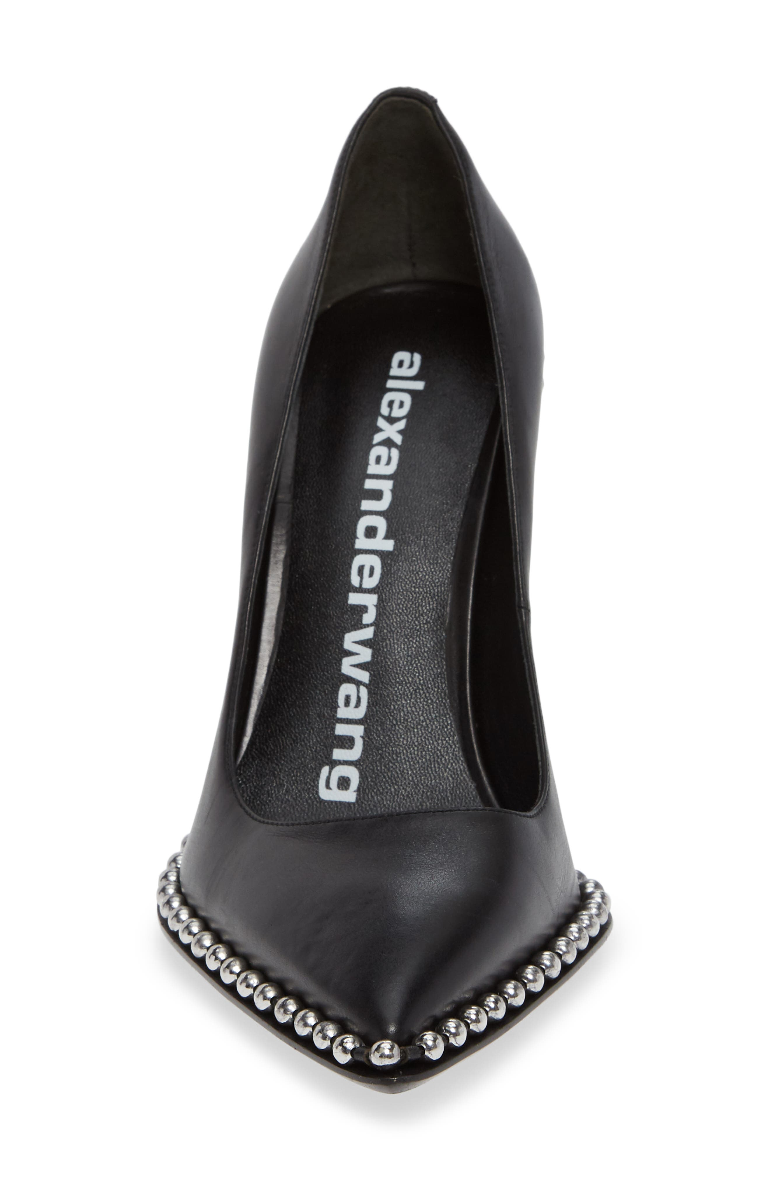 Rie Stud Pointy Toe Pump,                             Alternate thumbnail 4, color,                             BLACK