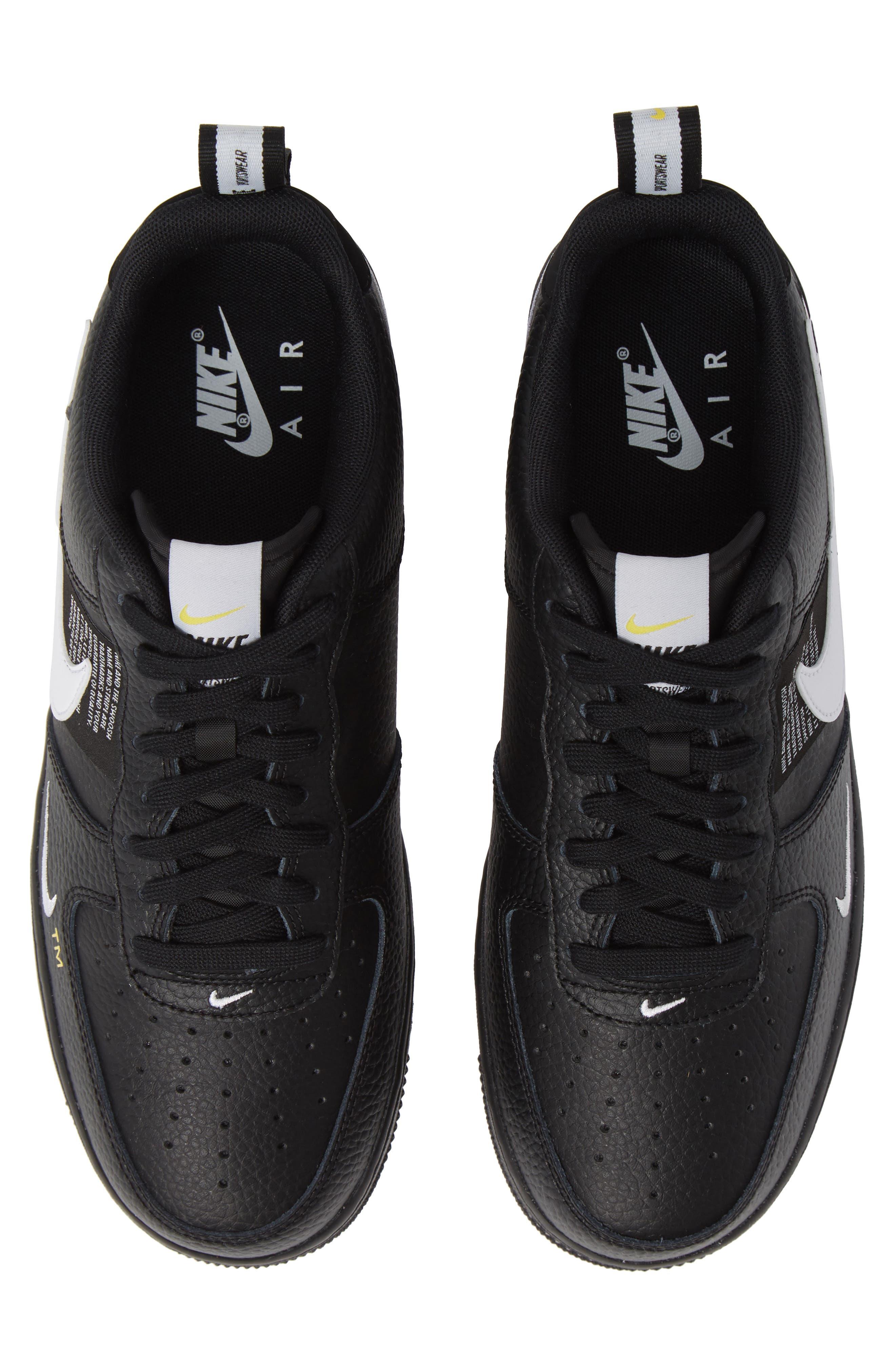 Air Force 1 '07 LV8 Utility Sneaker,                             Main thumbnail 1, color,                             BLACK/ WHITE/ TOUR YELLOW