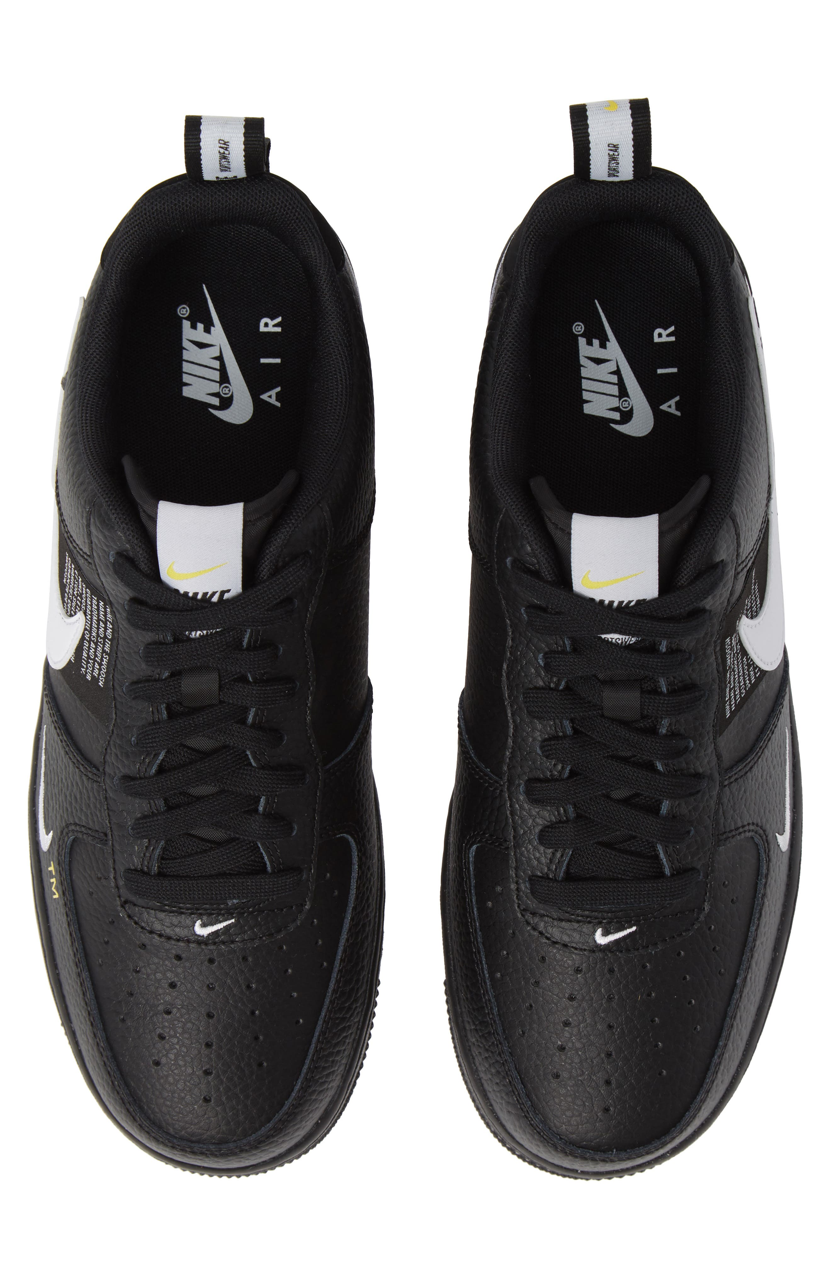 Air Force 1 '07 LV8 Utility Sneaker,                         Main,                         color, BLACK/ WHITE/ TOUR YELLOW