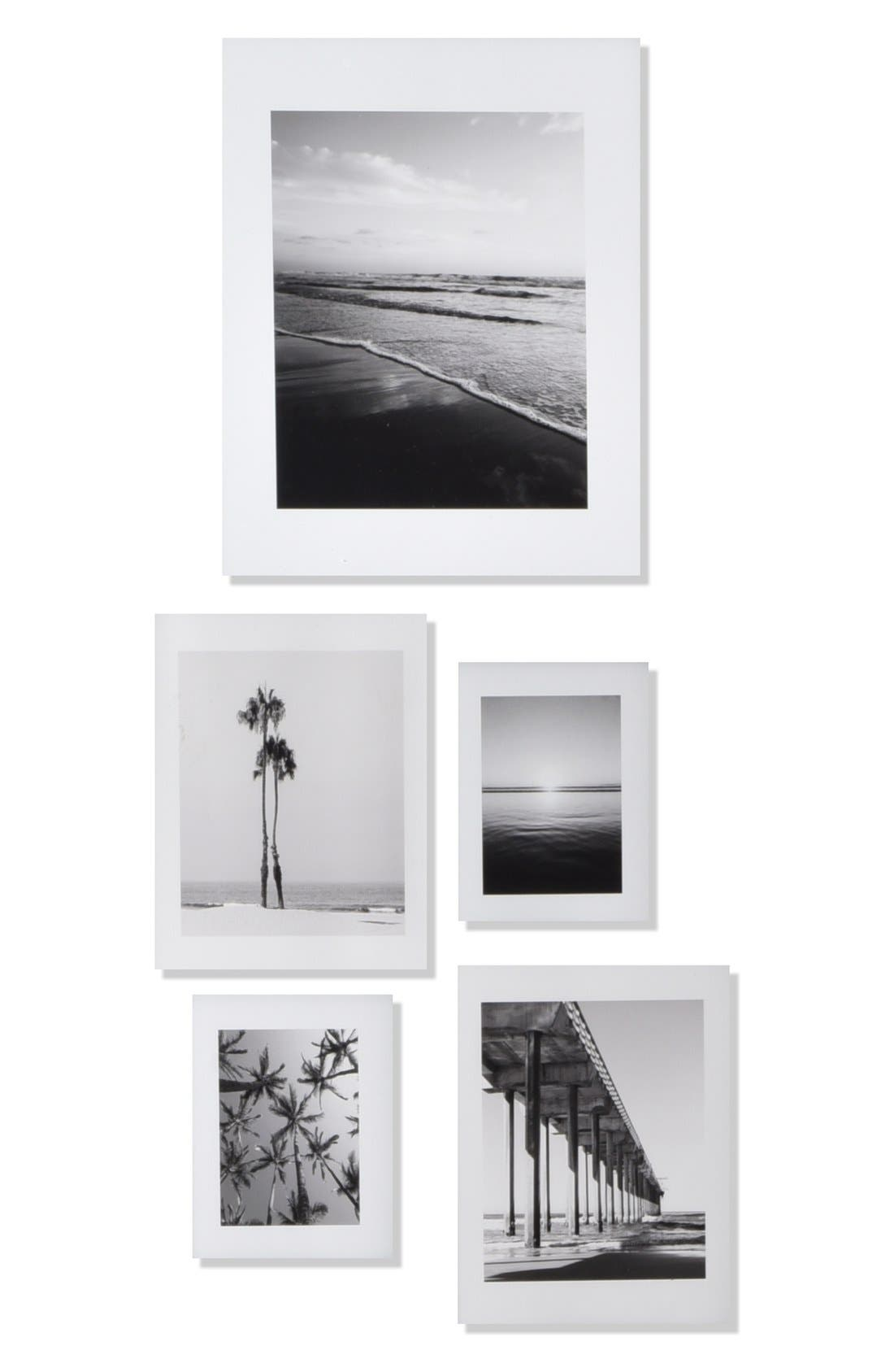 DENY DESIGNS,                             'Ombré Beach' Wall Art Print Set,                             Main thumbnail 1, color,                             WHITE