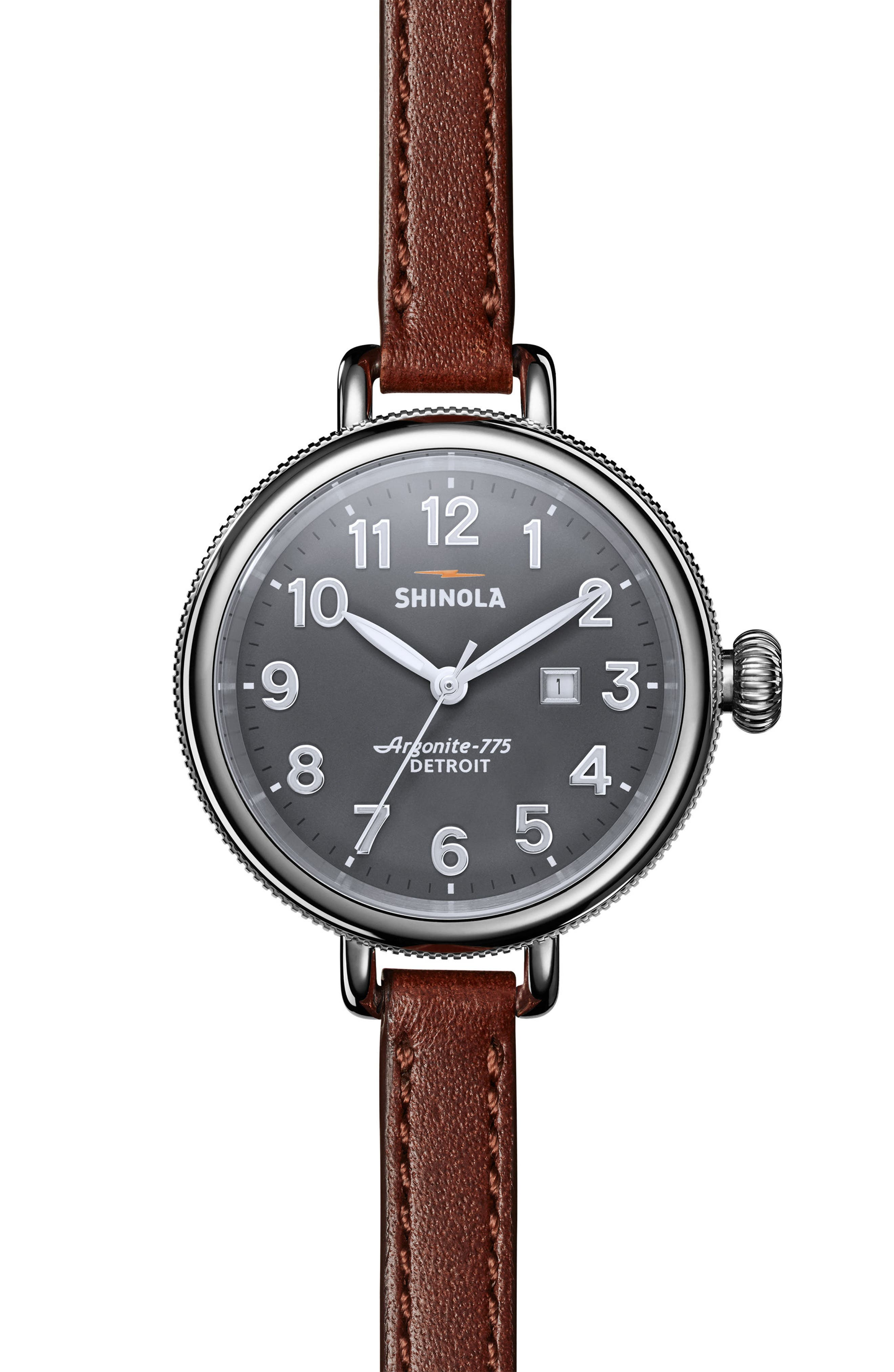 The Birdy Leather Strap Watch, 34mm,                             Main thumbnail 1, color,                             BROWN/ GREY/ SILVER