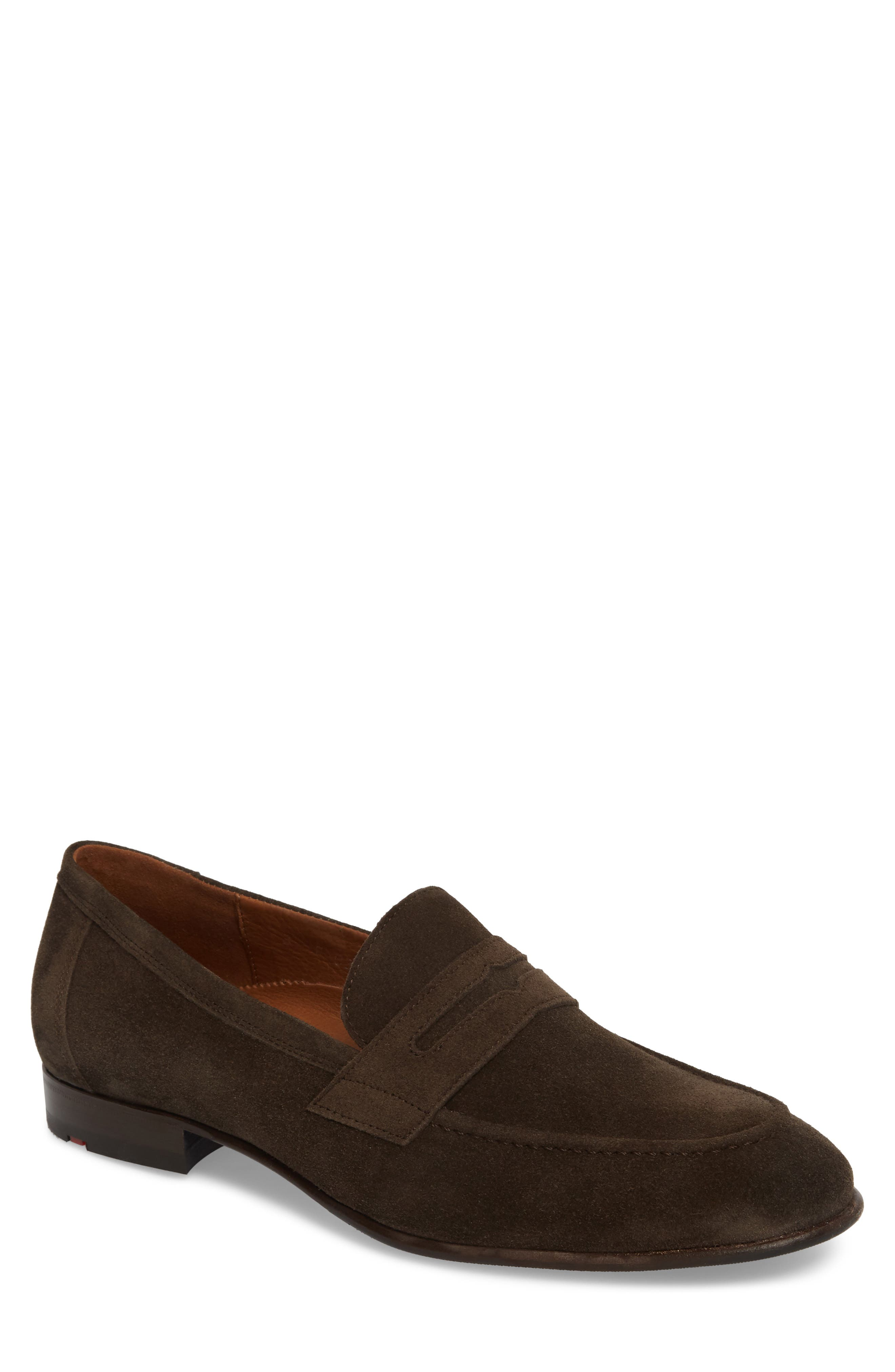 Paxton Penny Loafer,                             Main thumbnail 1, color,                             BROWN SUEDE