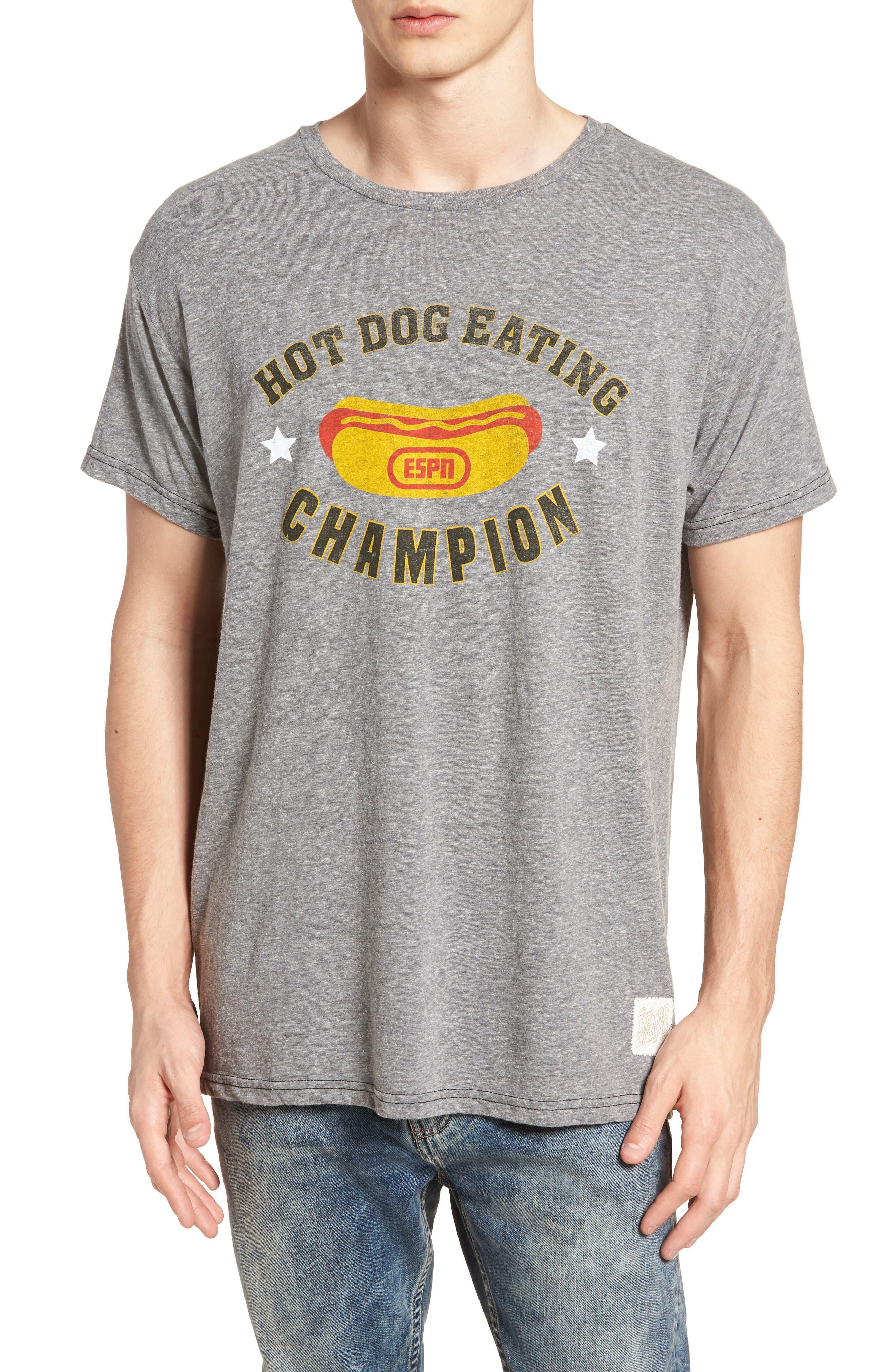 The Original Retro Brand Hot Dog Eating Champion T-Shirt,                             Main thumbnail 1, color,                             020
