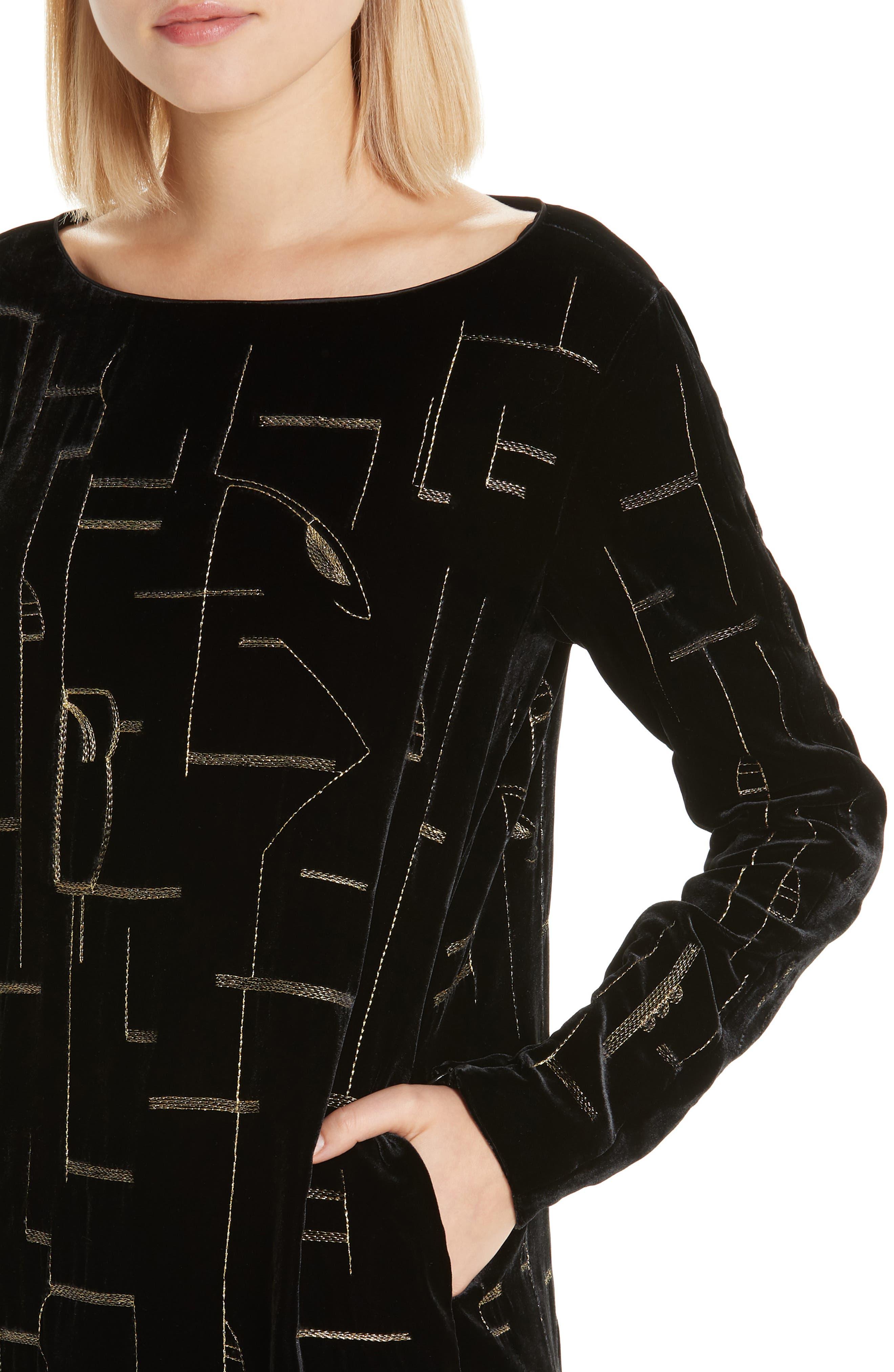 LAFAYETTE 148 NEW YORK,                             Cressida Embellished Velvet Dress,                             Alternate thumbnail 4, color,                             BLACK MULTI