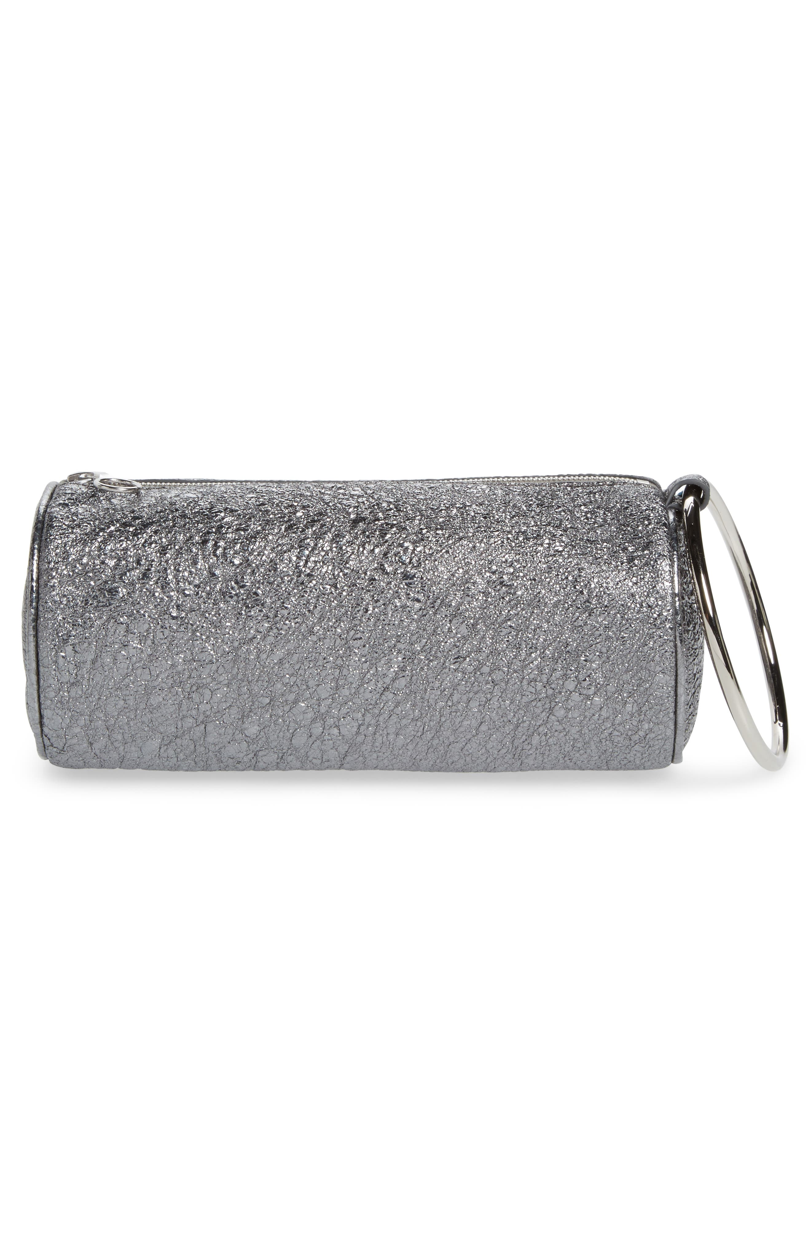 Crinkled Metallic Leather Duffel Wristlet Clutch,                             Alternate thumbnail 3, color,