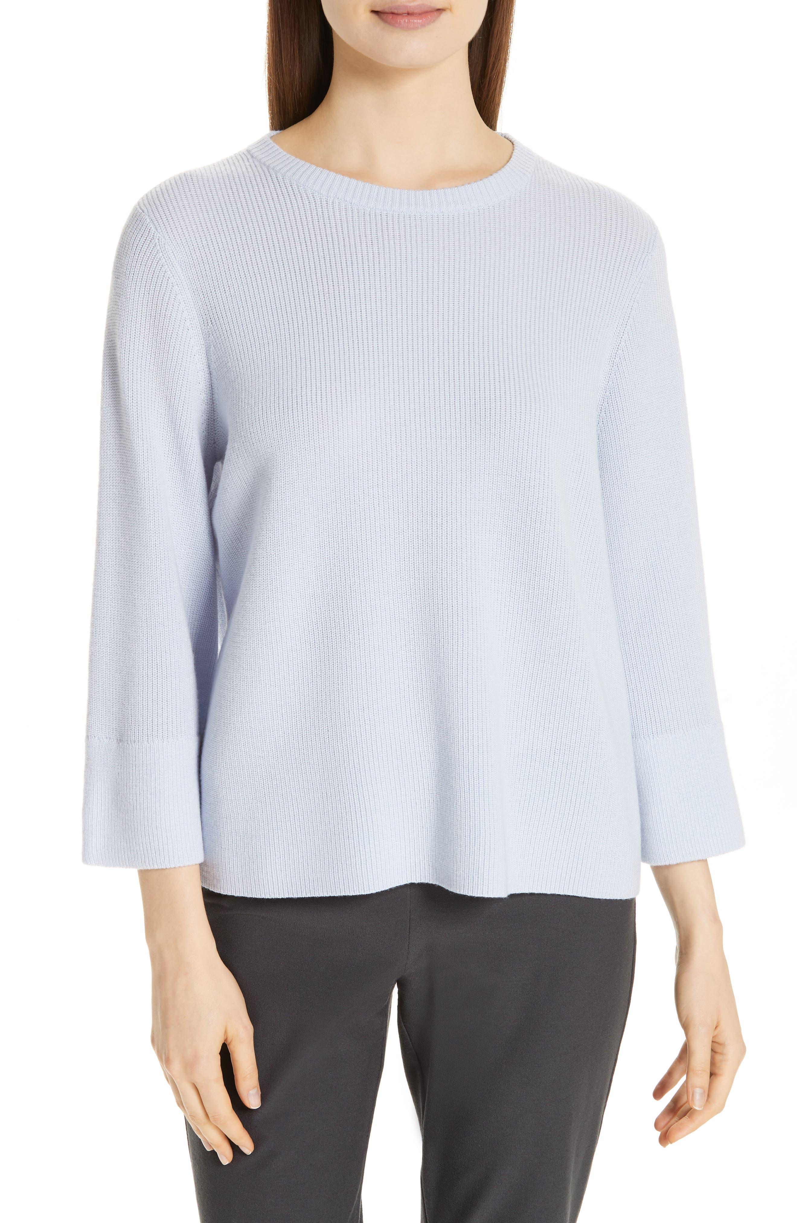 women's eileen fisher three quarter sleeve sweater, size medium - blue