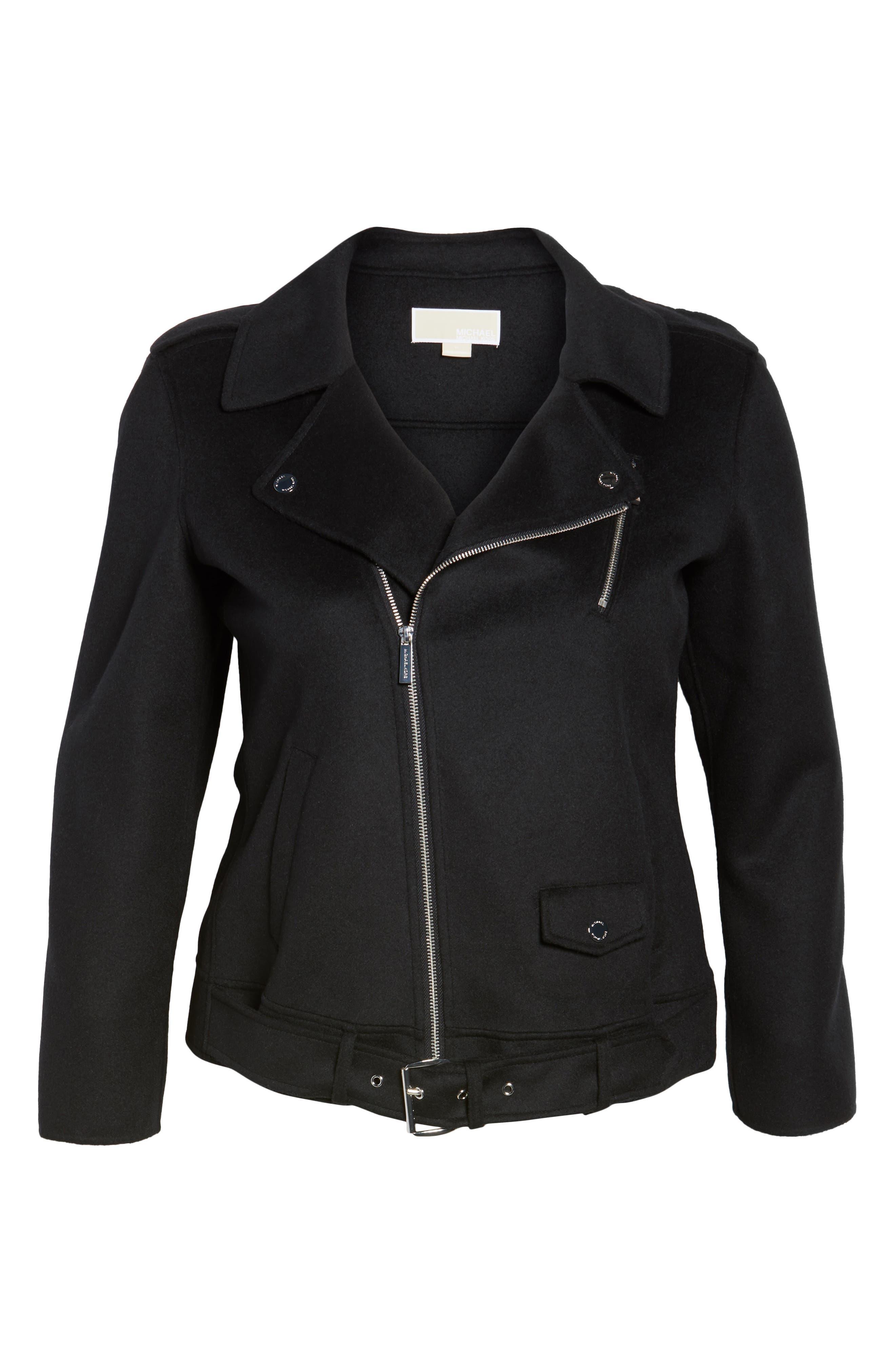 Wool Blend Moto Jacket,                             Alternate thumbnail 5, color,                             001