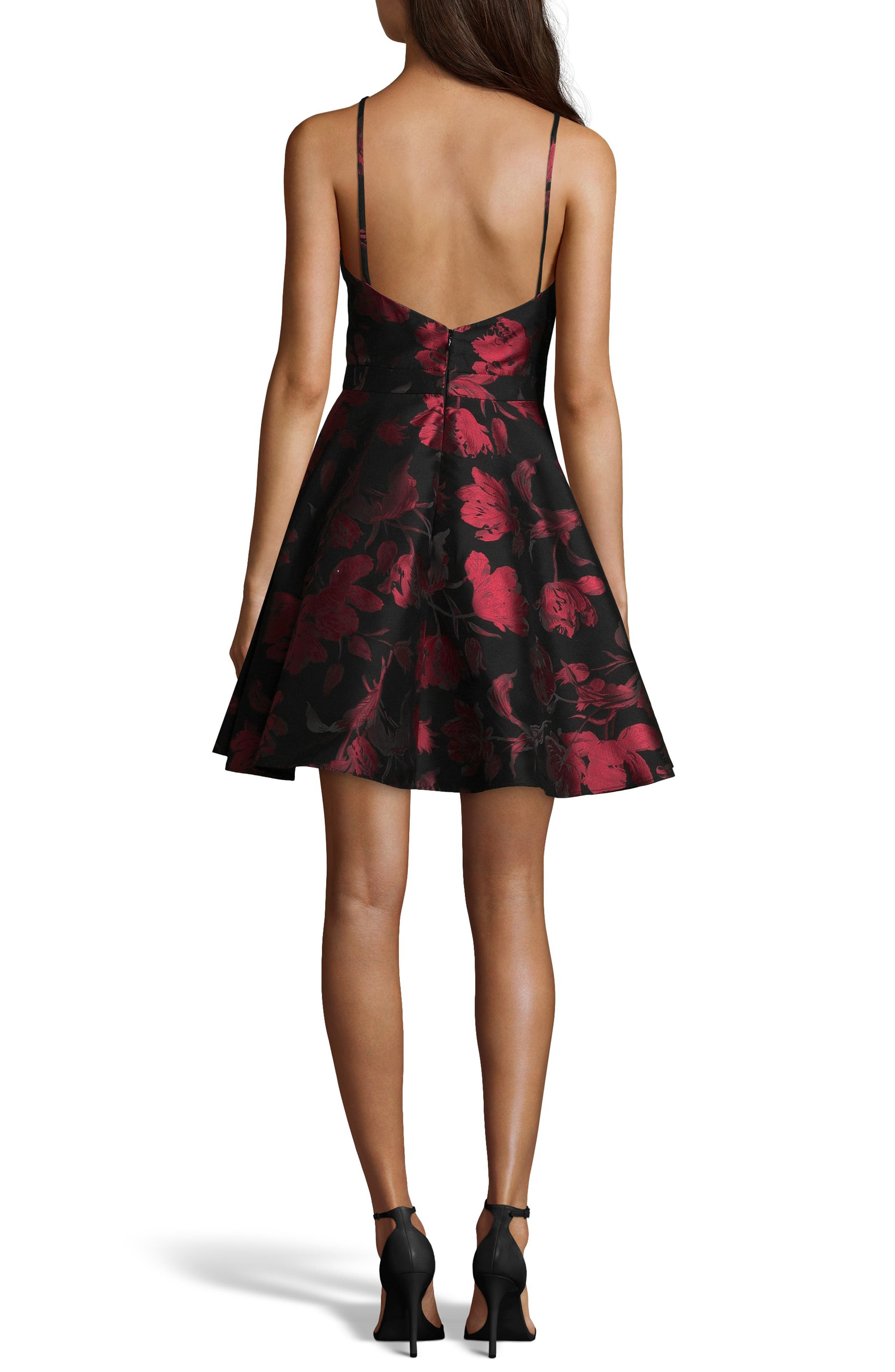 Halter Neck Brocade Fit and Flare Party Dress,                             Alternate thumbnail 2, color,                             BLACK/ RED