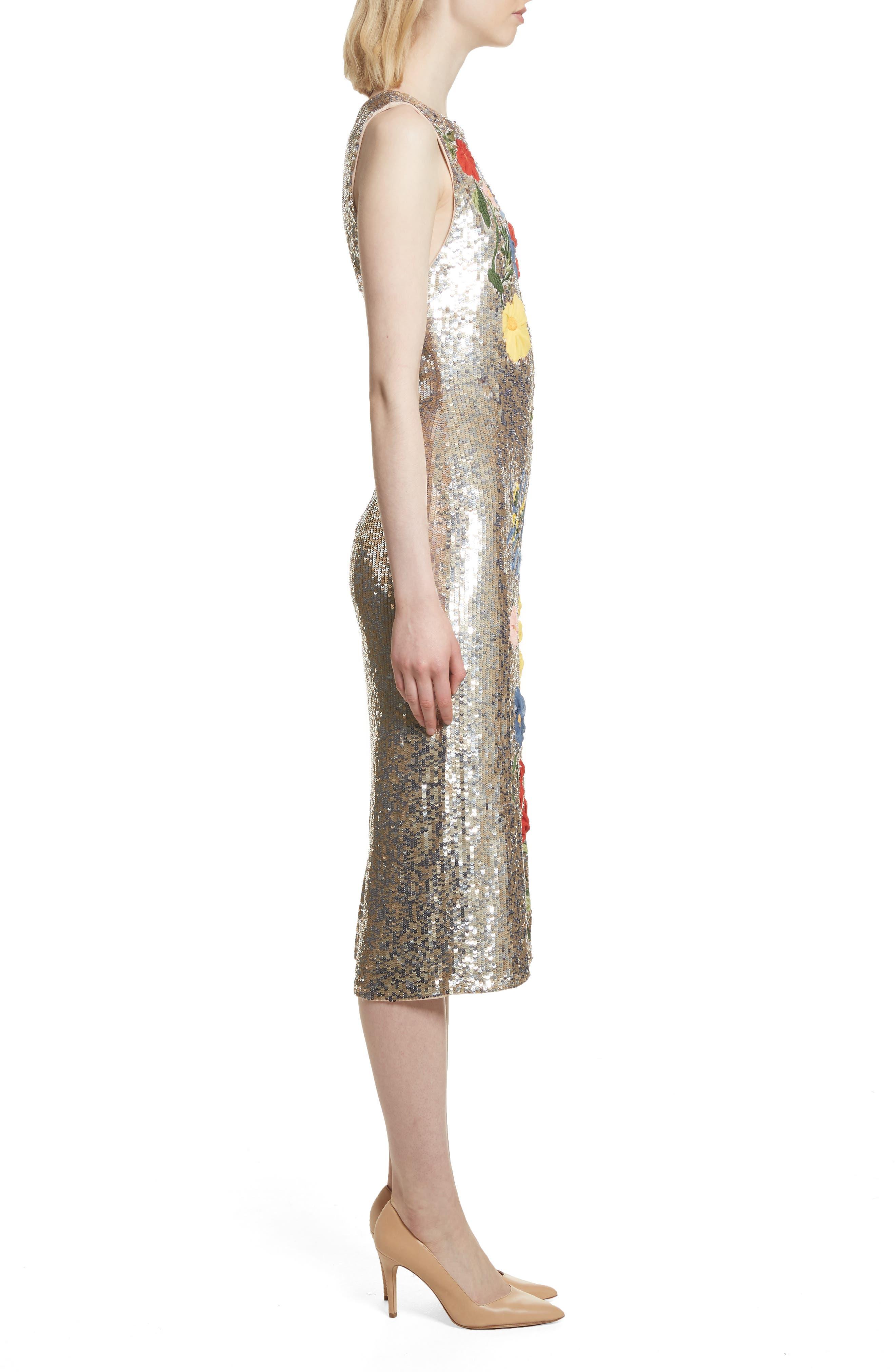 Nat Embellished Sheath Dress,                             Alternate thumbnail 3, color,                             047