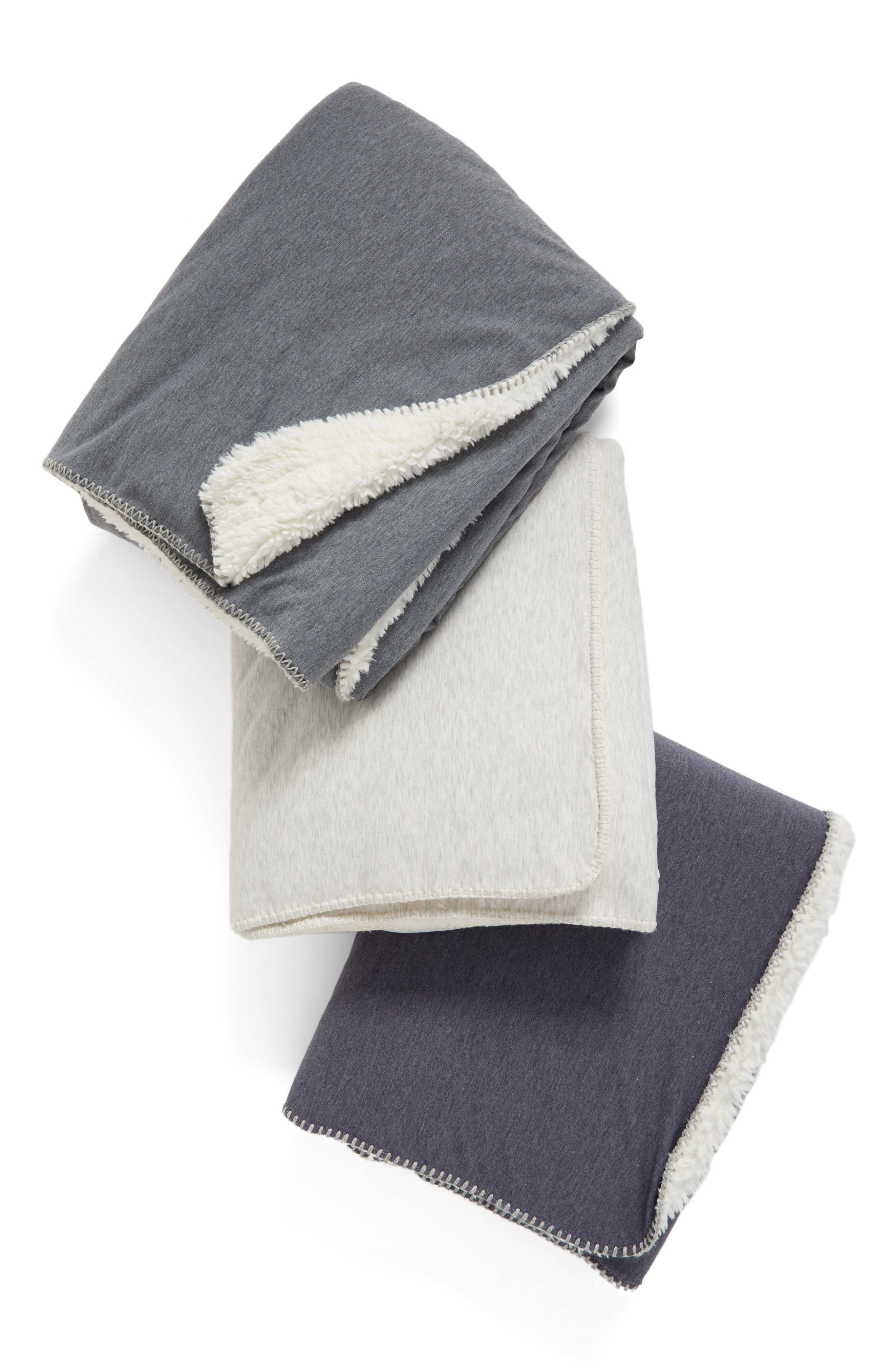 Nordstrom Jersey/Faux Fur Throw,                             Alternate thumbnail 11, color,