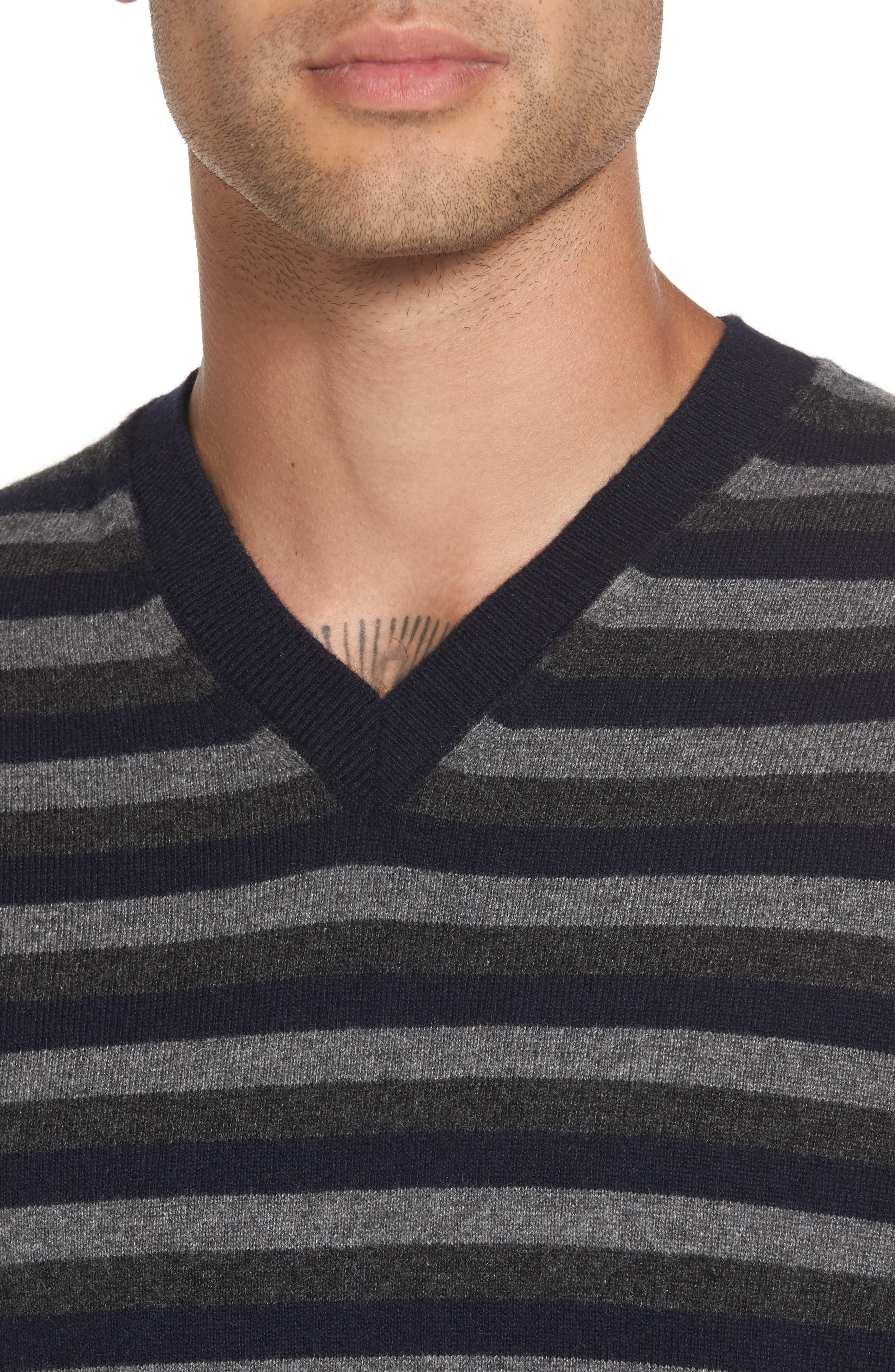 Stripe V-Neck Cashmere Sweater,                             Alternate thumbnail 4, color,                             406