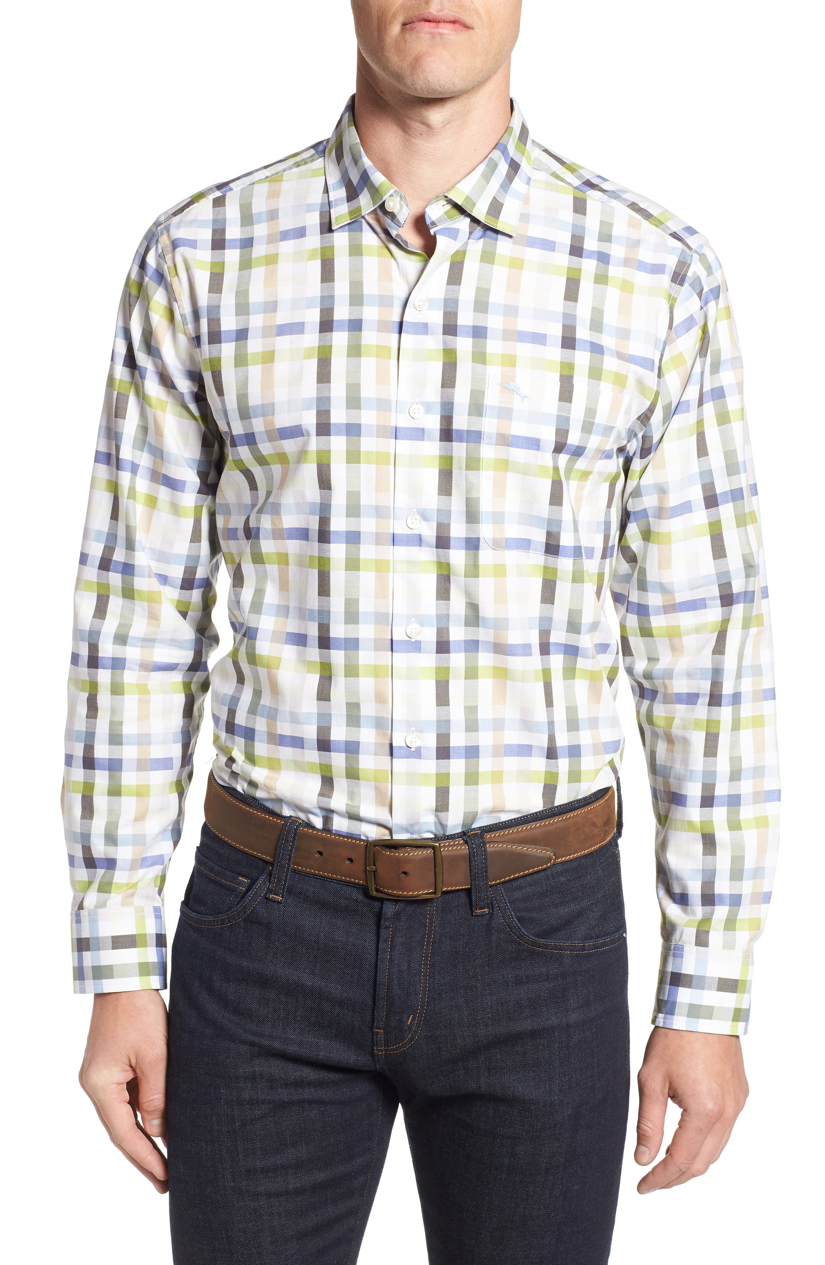 Matina Check Sport Shirt, Main, color, NEW BLUE OPAL