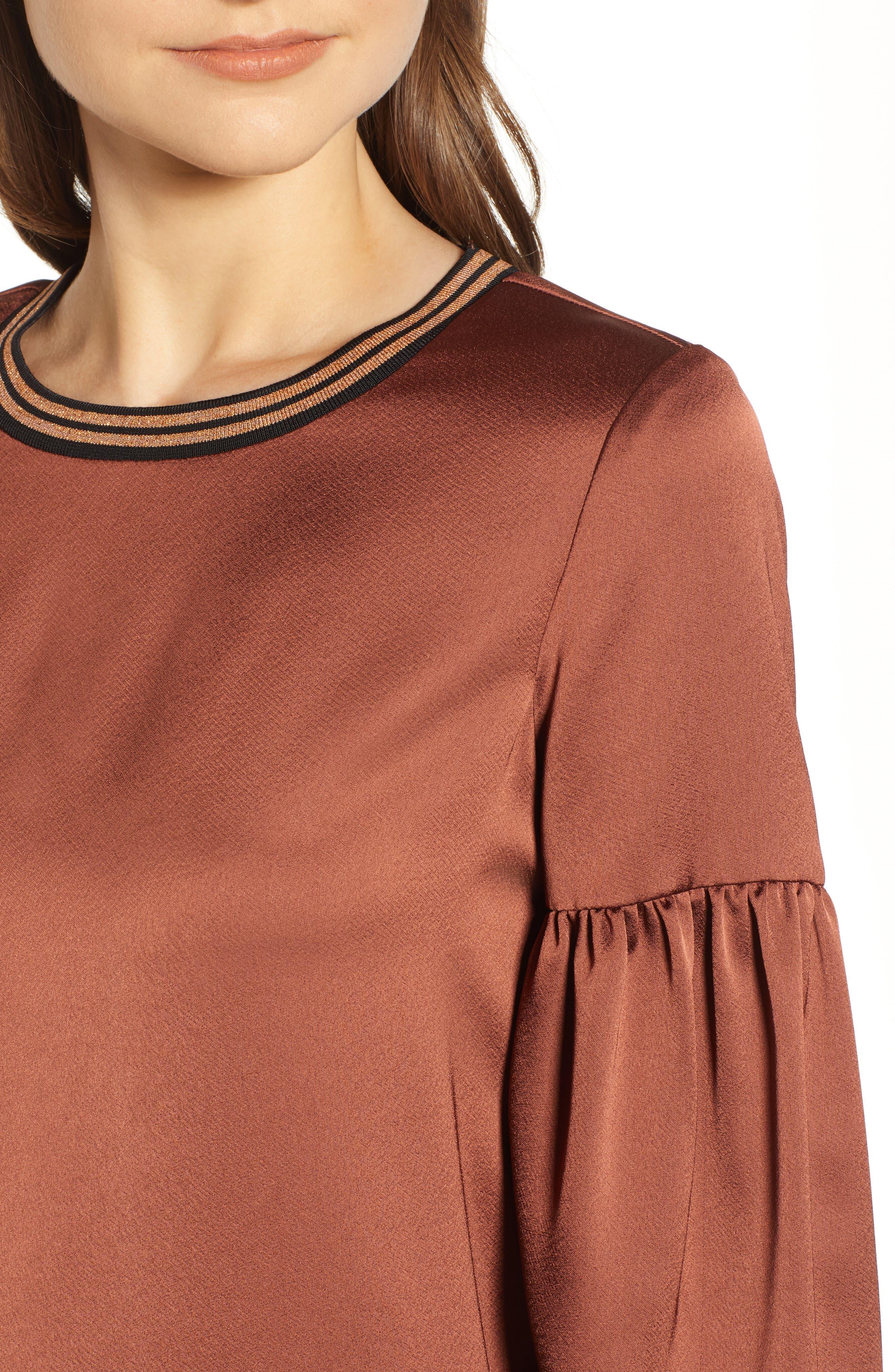 Voluminous Sleeve Shift Dress,                             Alternate thumbnail 4, color,                             BRICK