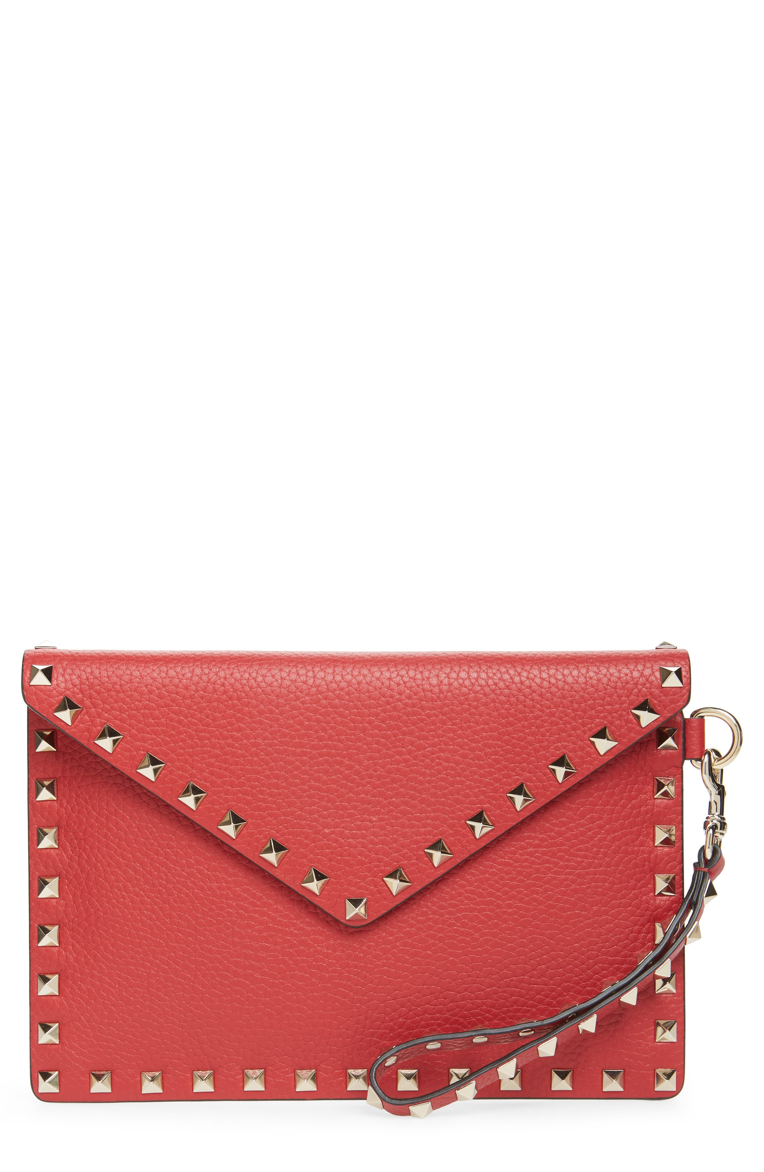 Medium Rockstud Leather Envelope Pouch,                         Main,                         color, ROSSO V