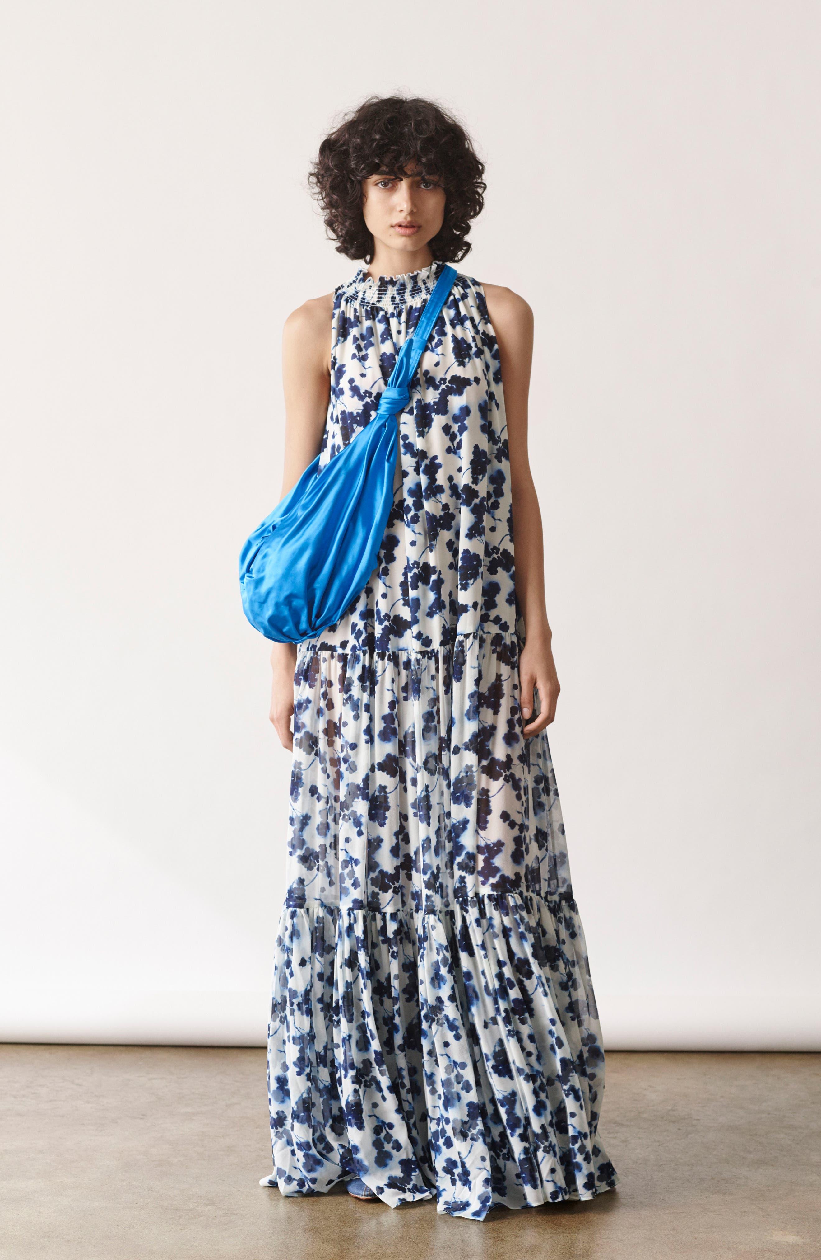 Lani P Floral Print Silk Dress,                             Alternate thumbnail 7, color,                             426