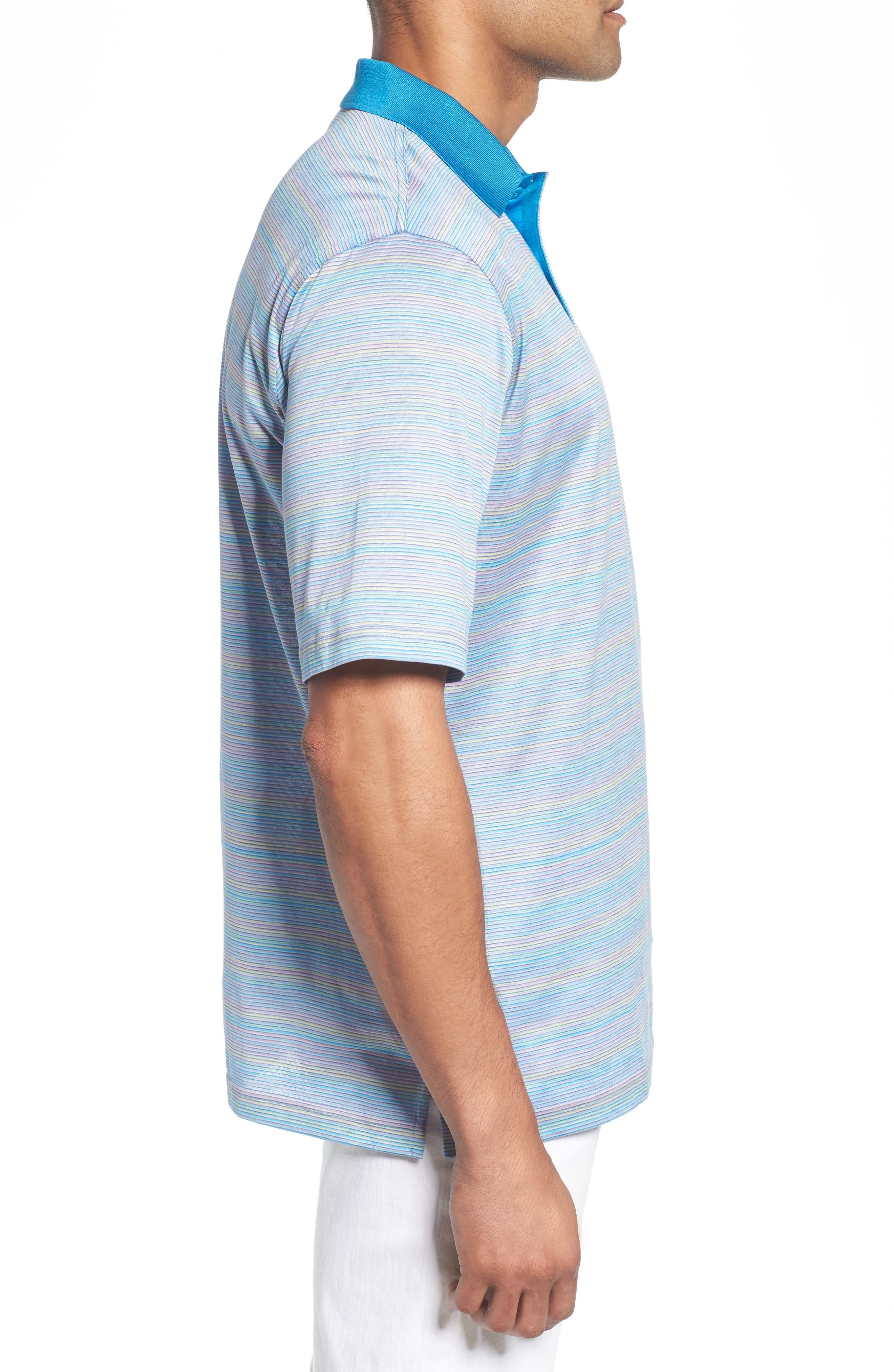 Stripe Mercerized Cotton Polo,                             Alternate thumbnail 3, color,                             LILAC