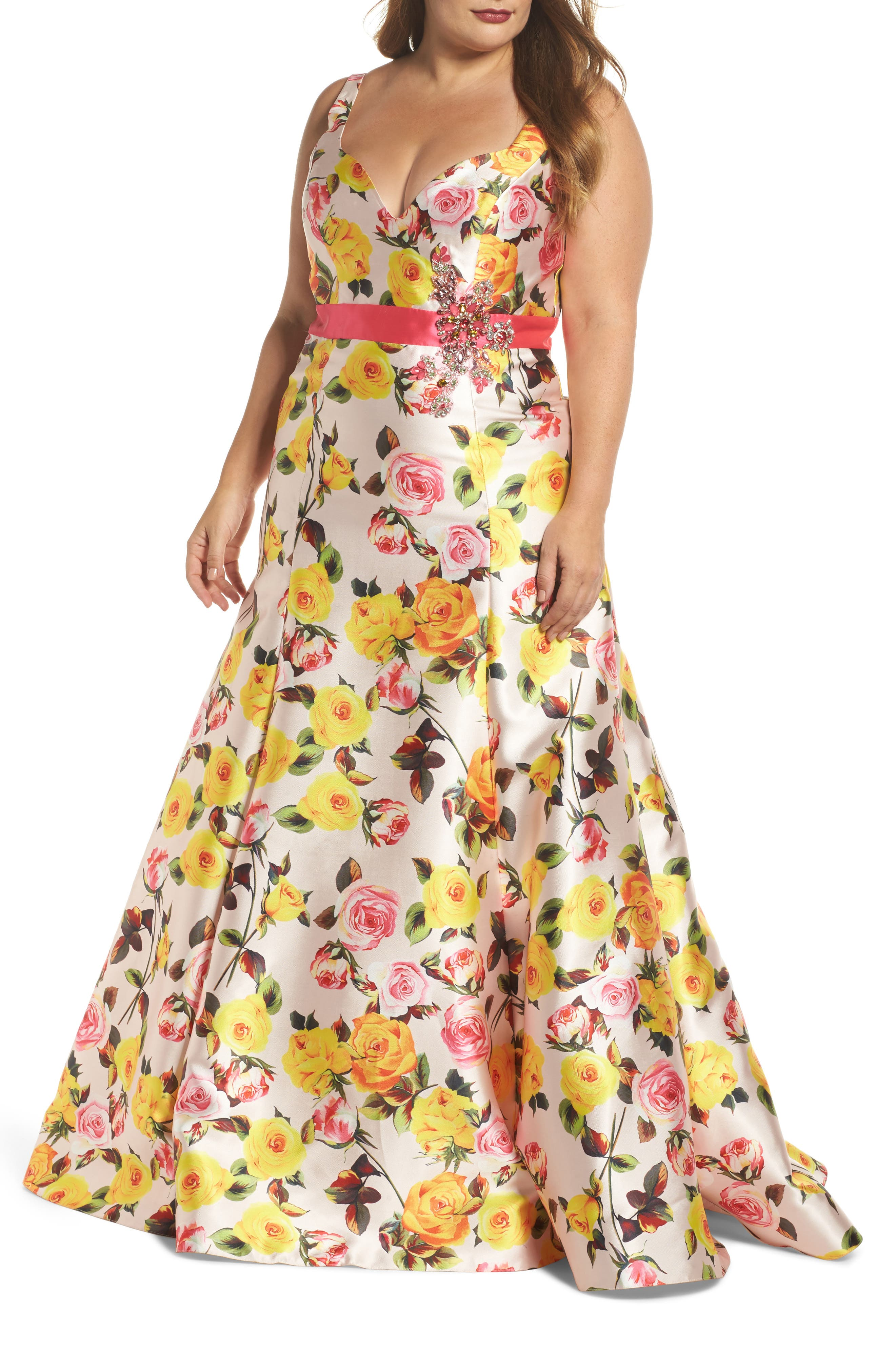 Floral Trumpet Gown,                             Main thumbnail 1, color,                             BLUSH FLORAL