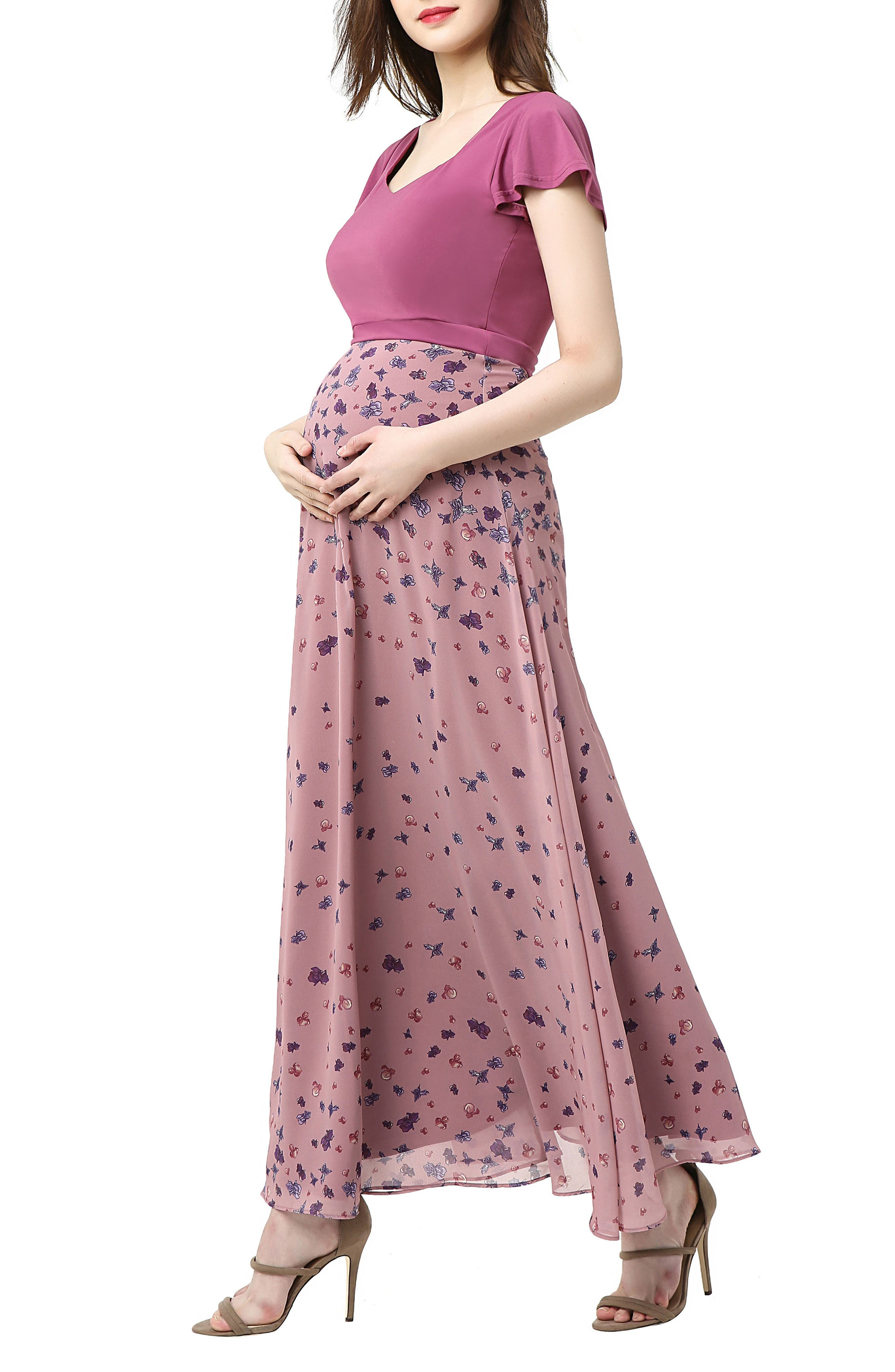Emma Flutter Sleeve Maternity Maxi Dress,                             Alternate thumbnail 3, color,