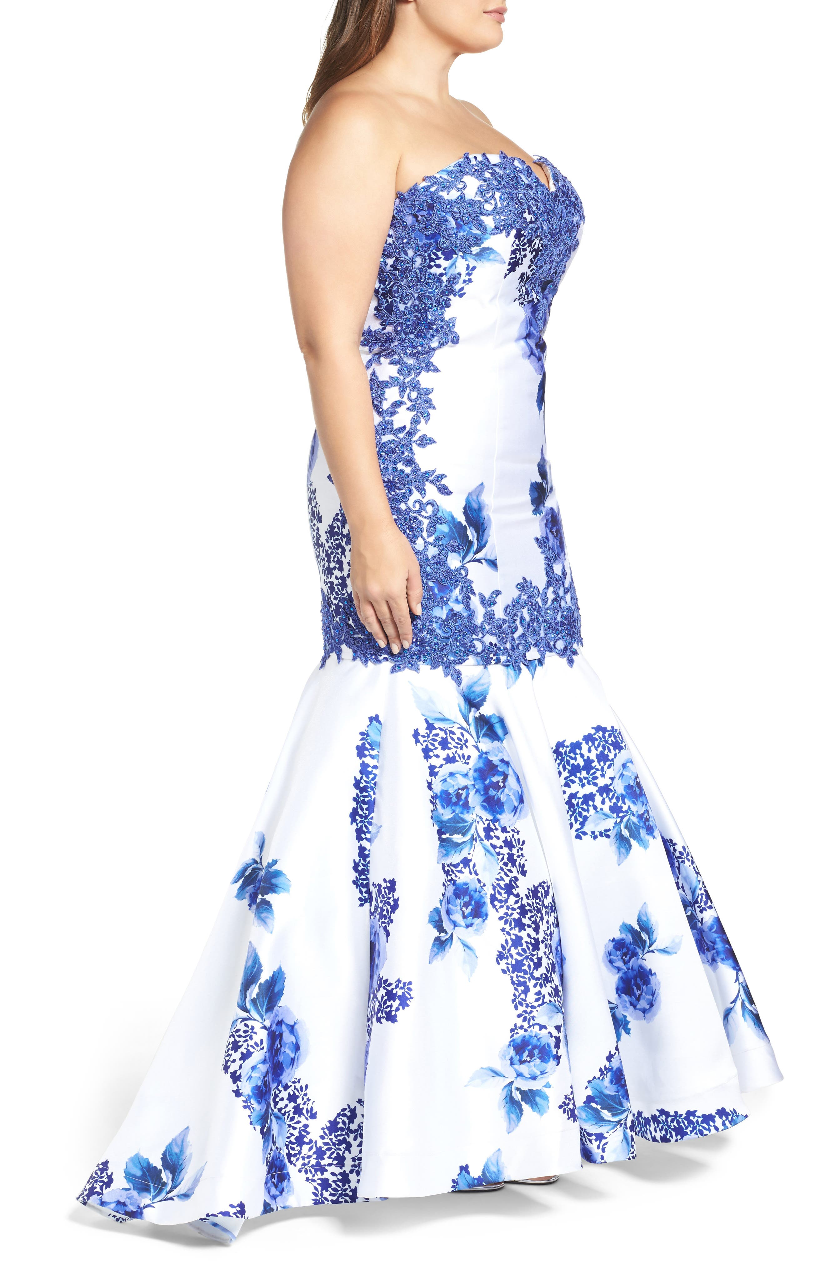 Embellished Strapless Zip Off Mermaid Gown,                             Alternate thumbnail 3, color,                             BLUE FLORAL
