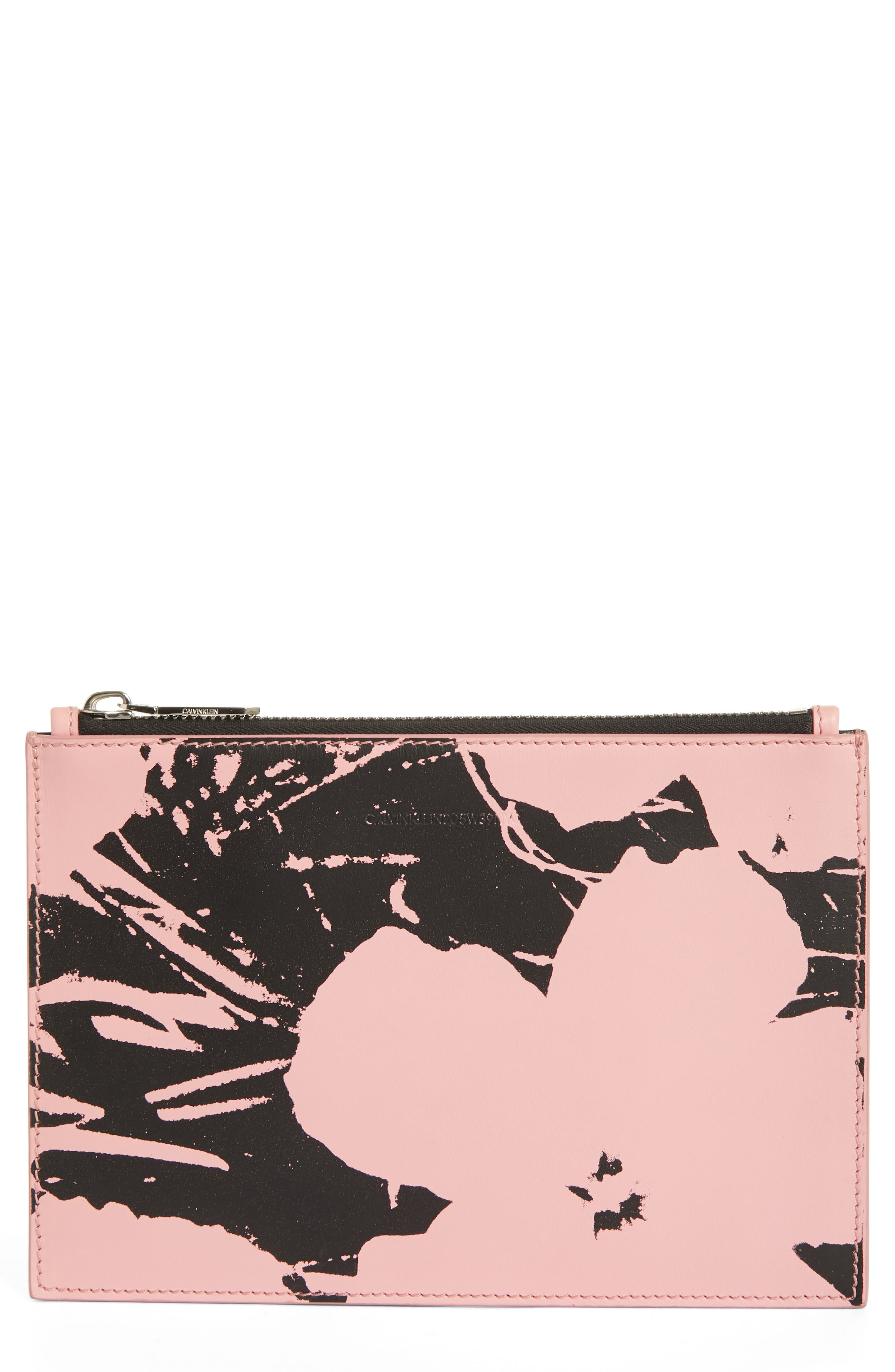 x Andy Warhol Foundation Flowers Leather Pouch,                             Main thumbnail 1, color,                             PINK/ BLACK