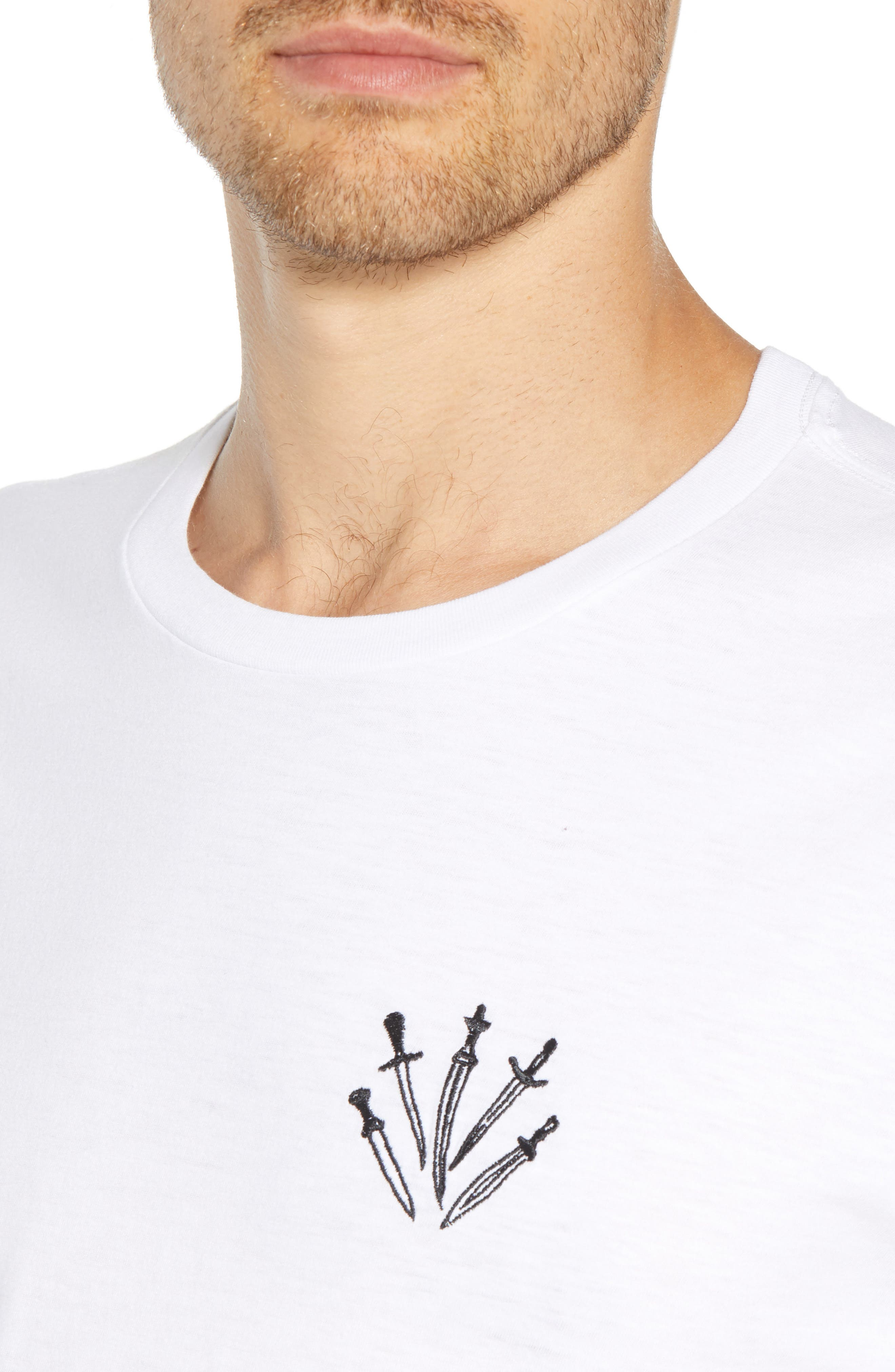 Dagger Embroidered T-Shirt,                             Alternate thumbnail 4, color,                             WHITE