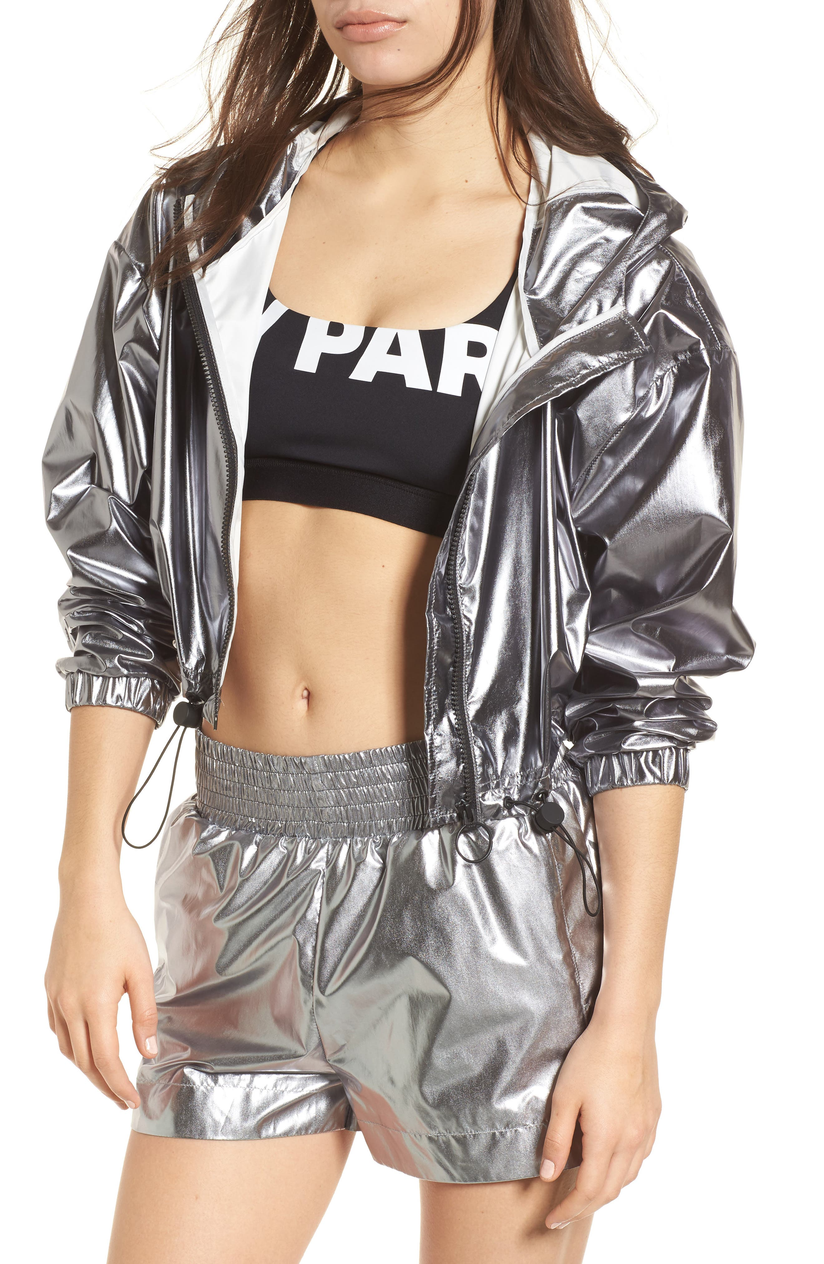 Metallic Crop Jacket,                             Main thumbnail 1, color,                             040