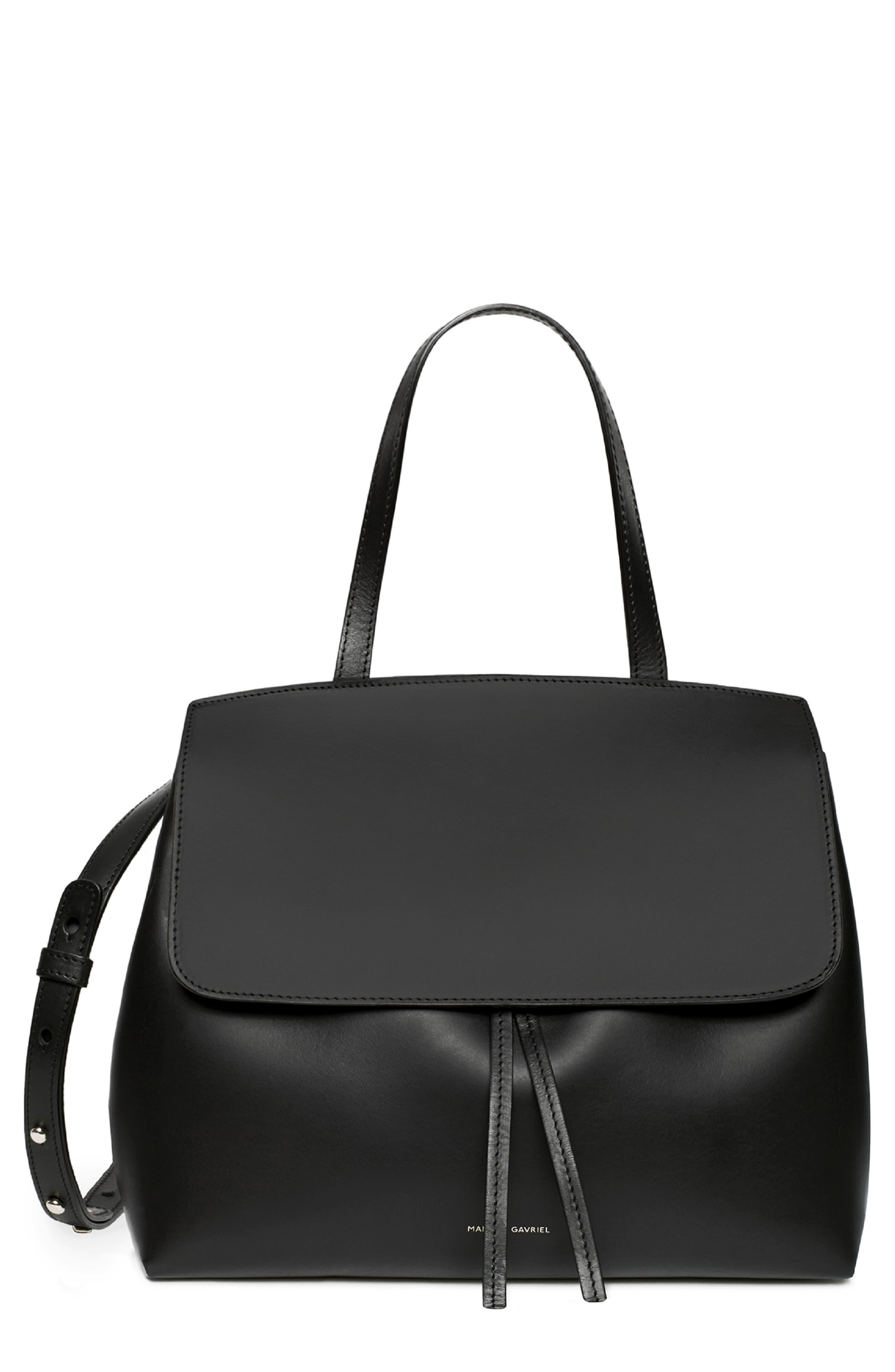 Mini Lady Leather Bag, Main, color, BLACK/ FLAMMA