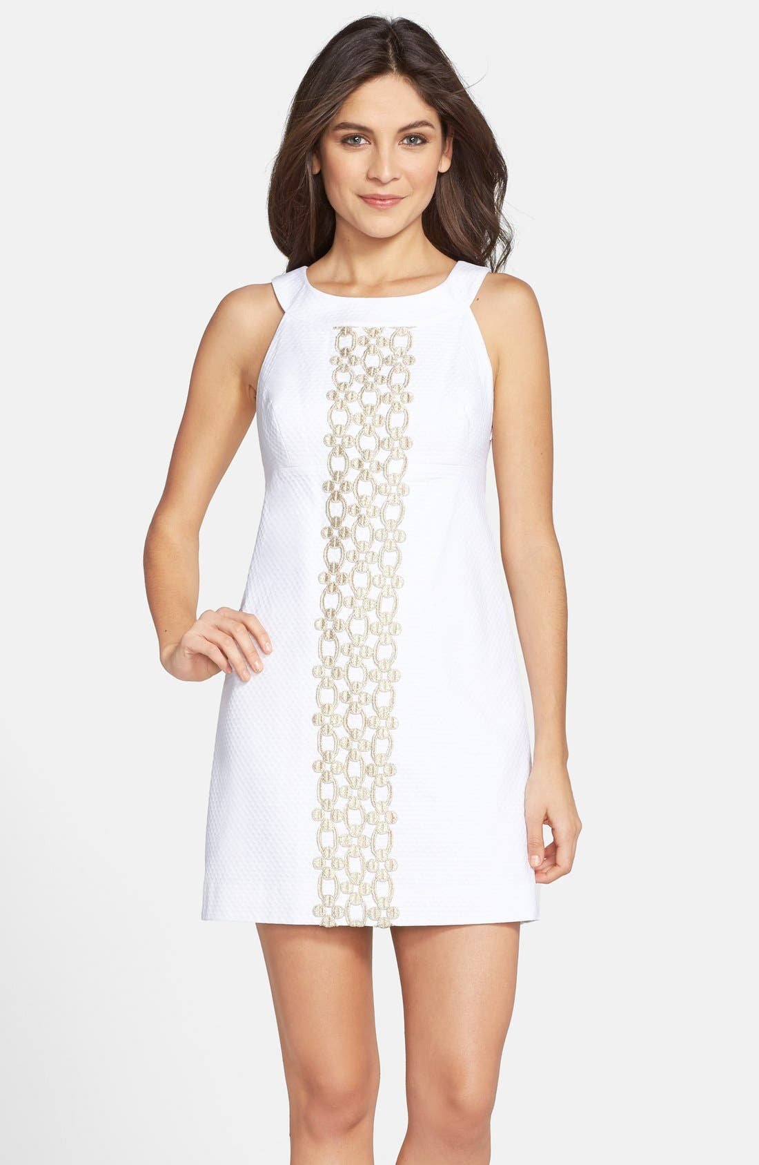 'Jacqueline' Embroidered Textured Cotton Shift Dress,                             Main thumbnail 1, color,                             115